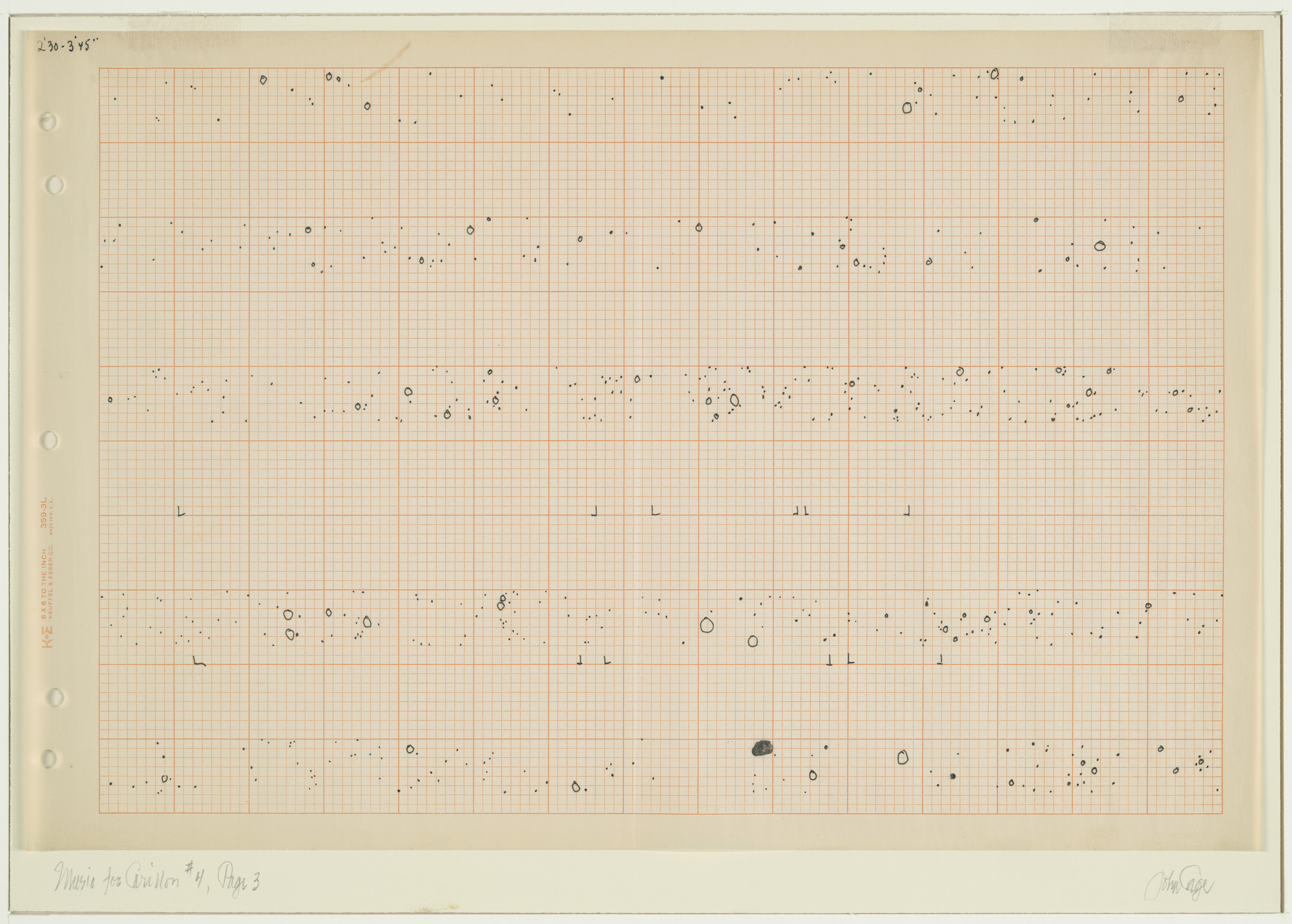 John Cage. Music for Carillon, # 4, Page 3. 1961