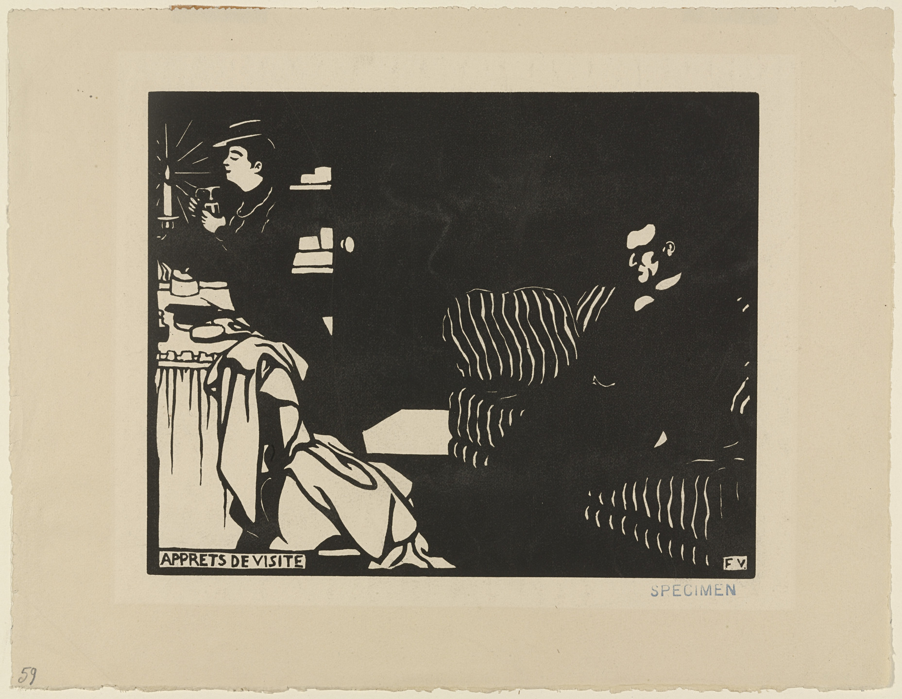 Félix Vallotton. Getting Ready for a Visit (Apprets de visite) from Intimacies (Intimités). 1897