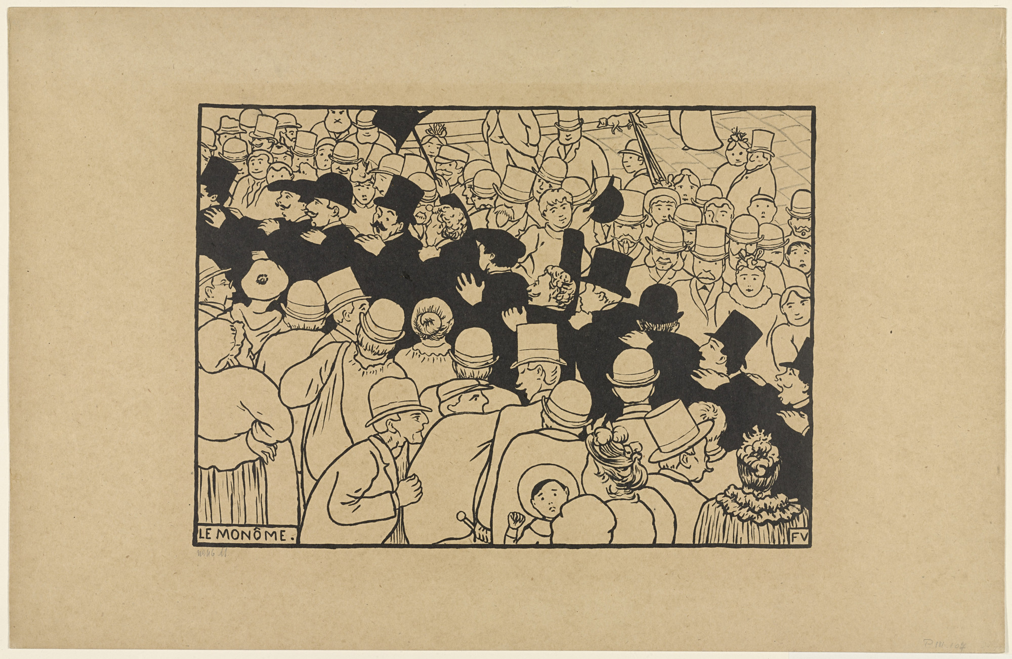 Félix Vallotton. Parading Through the Streets in Single File (Le Monôme) from the series Paris Intense. 1893