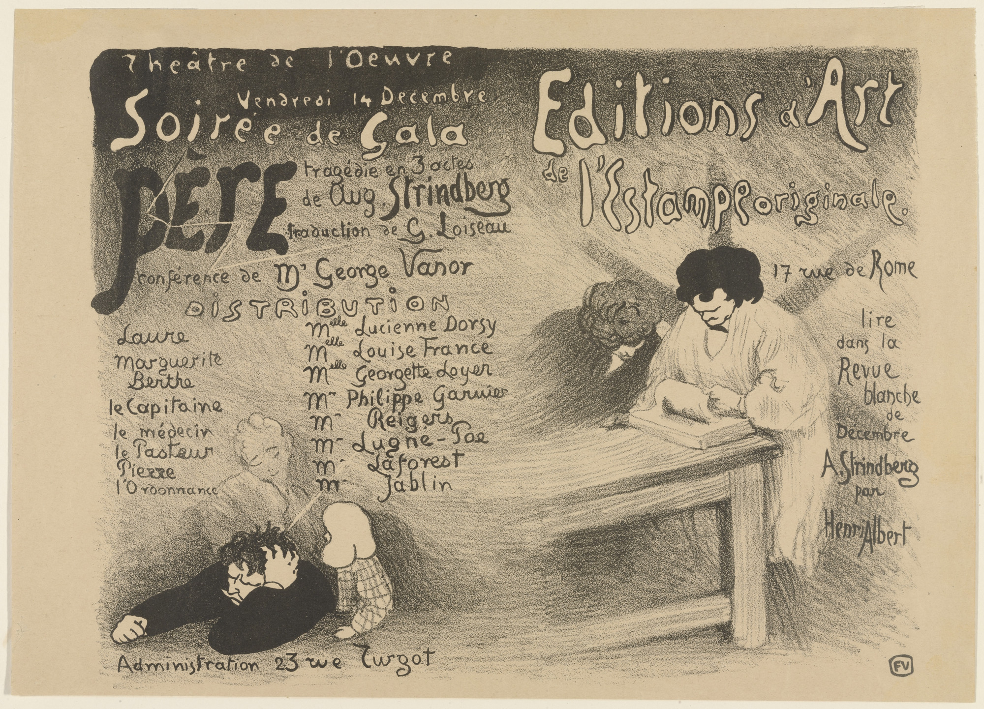 Félix Vallotton. Playbill for August Strindberg's Père (Father). 1894