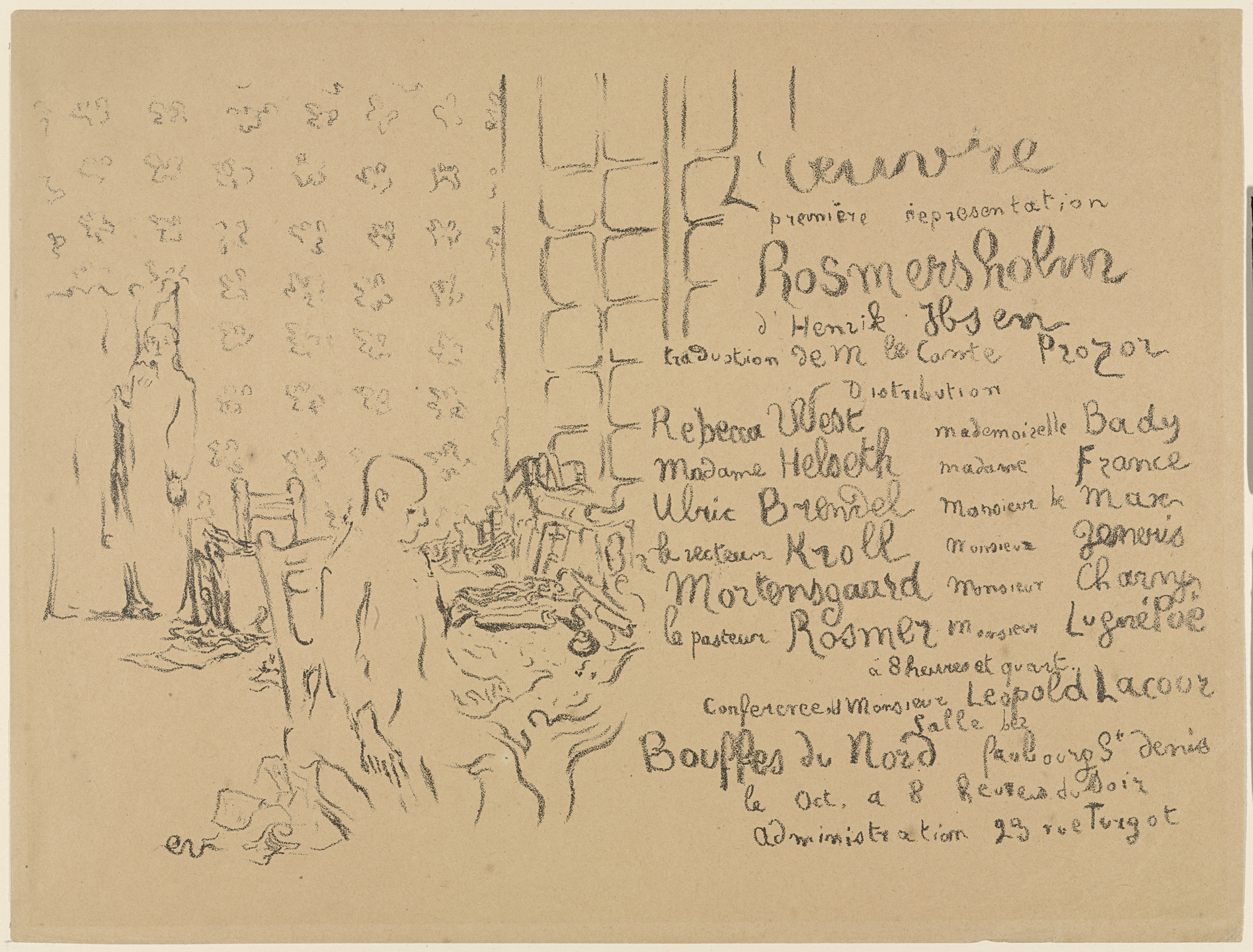 Édouard Vuillard. Program for Henrik Ibsen's Rosmersholm. October 1893