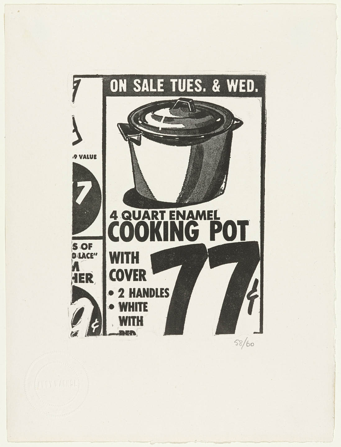 Andy Warhol. Cooking Pot (plate 18) from The International Anthology of Contemporary Engraving: The International Avant-Garde, Volume 5: America Discovered (Anthologia internazionale dell'incisione contemporanea: L'Avanguardia internazionale: Volume 5: Scoperta dell'America). 1962, published 1964