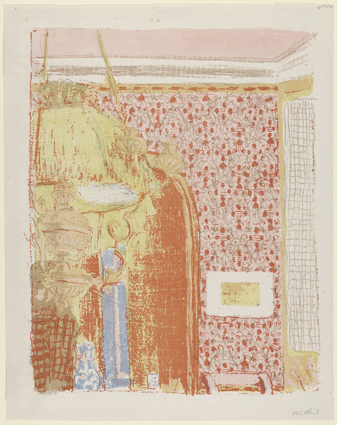 Édouard Vuillard. Interior with Pink Wallpaper II (Intérieur aux tentures roses II) from Landscapes and Interiors (Paysages et intérieurs). 1899