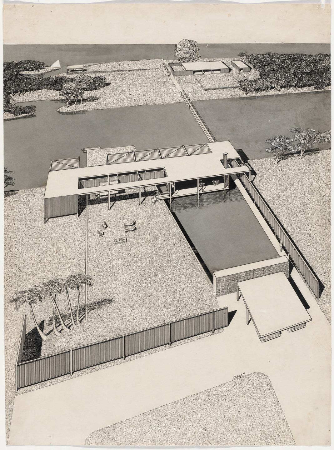 Paul Rudolph. Finney Guest House Project, Siesta Key, Florida, Aerial perspective. 1949