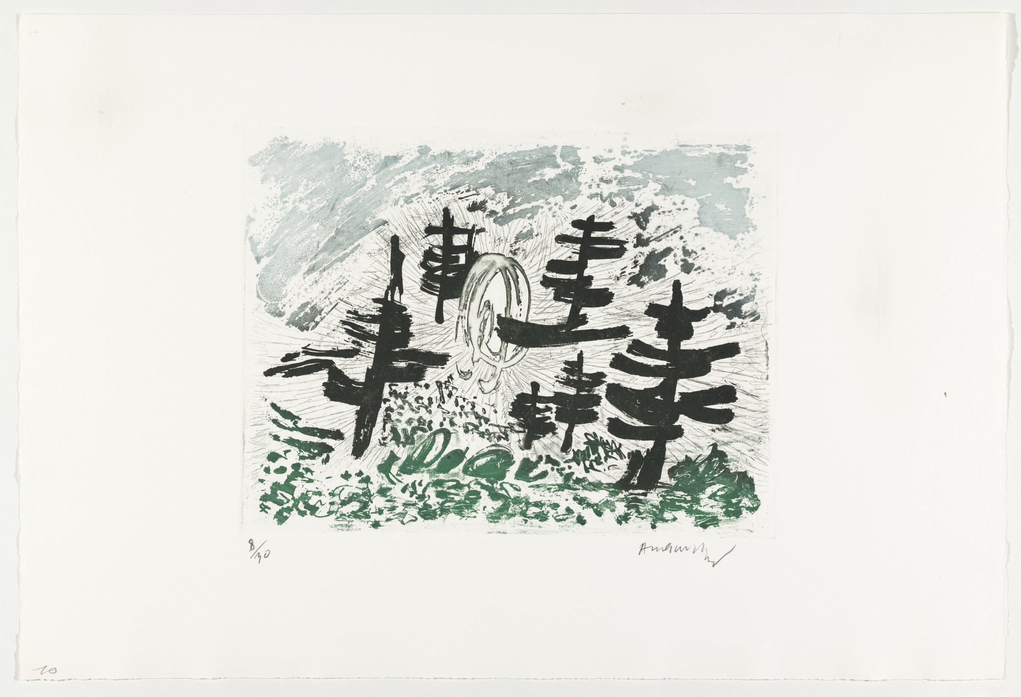Pierre Alechinsky. Handful of Trees (Poignée d'arbres) from Hayterophilies. 1968 (plate executed 1953)