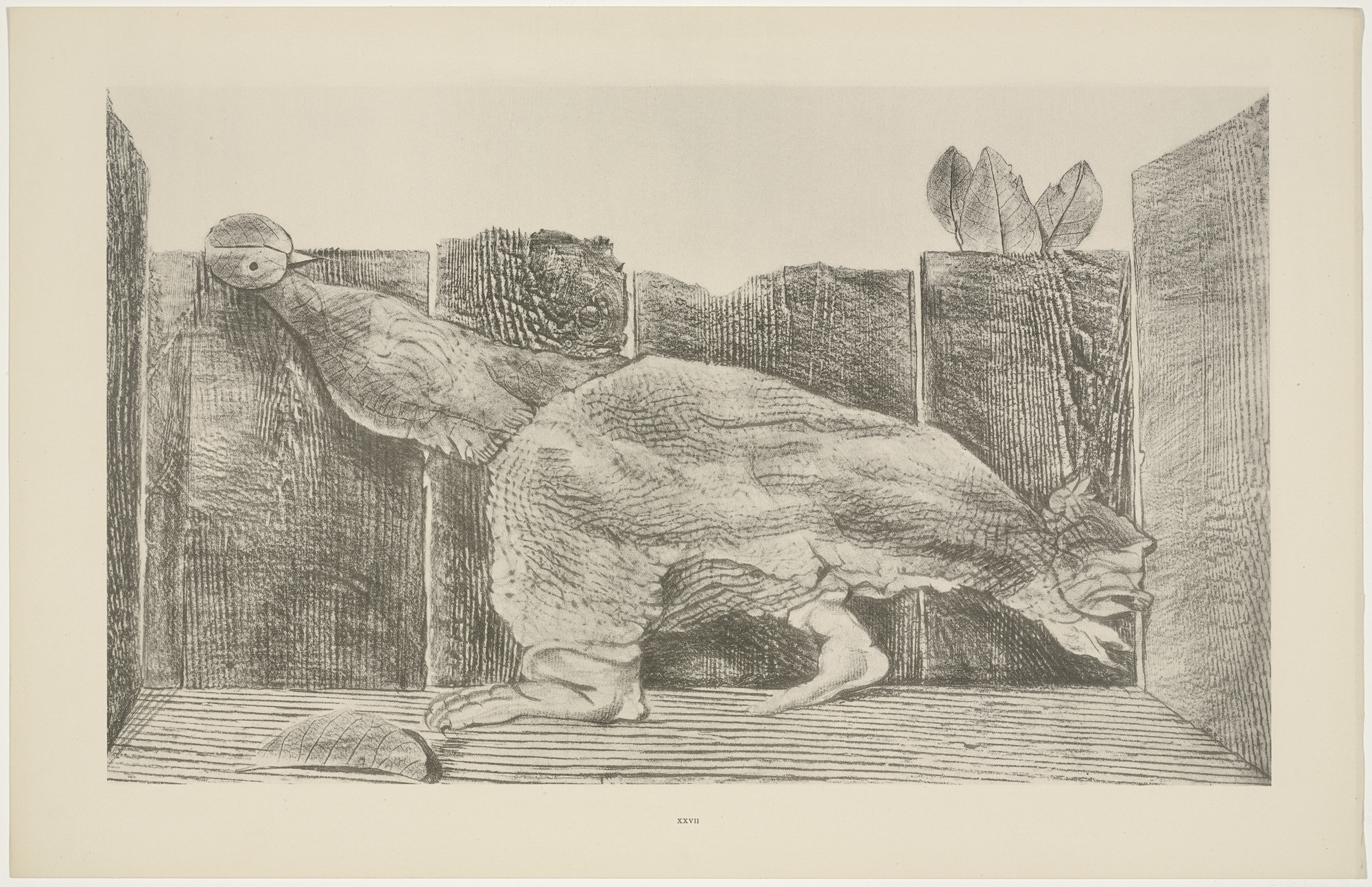 Max Ernst. In the Stable of the Sphinx (Dans l'écurie du sphinx) from Natural History (Histoire naturelle). c. 1925, published 1926