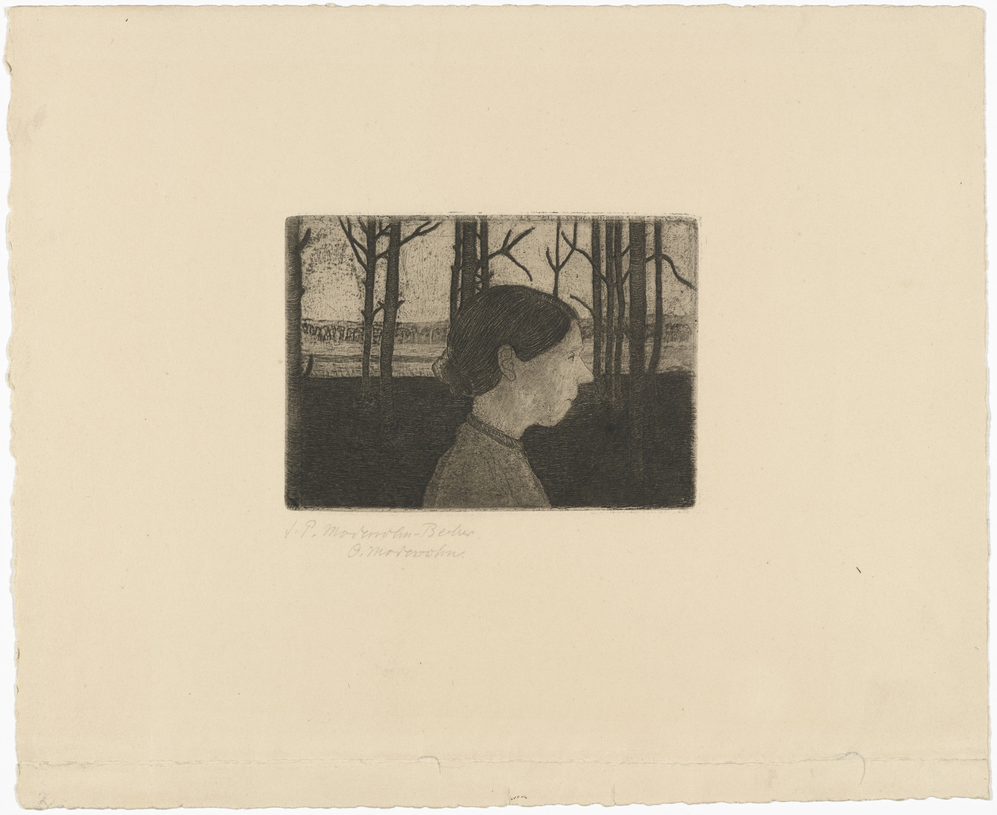 Paula Modersohn-Becker. Portrait of a Peasant Woman (Bildnis einer Bäuerin). c. 1899–1902, printed posthumously 1922–23