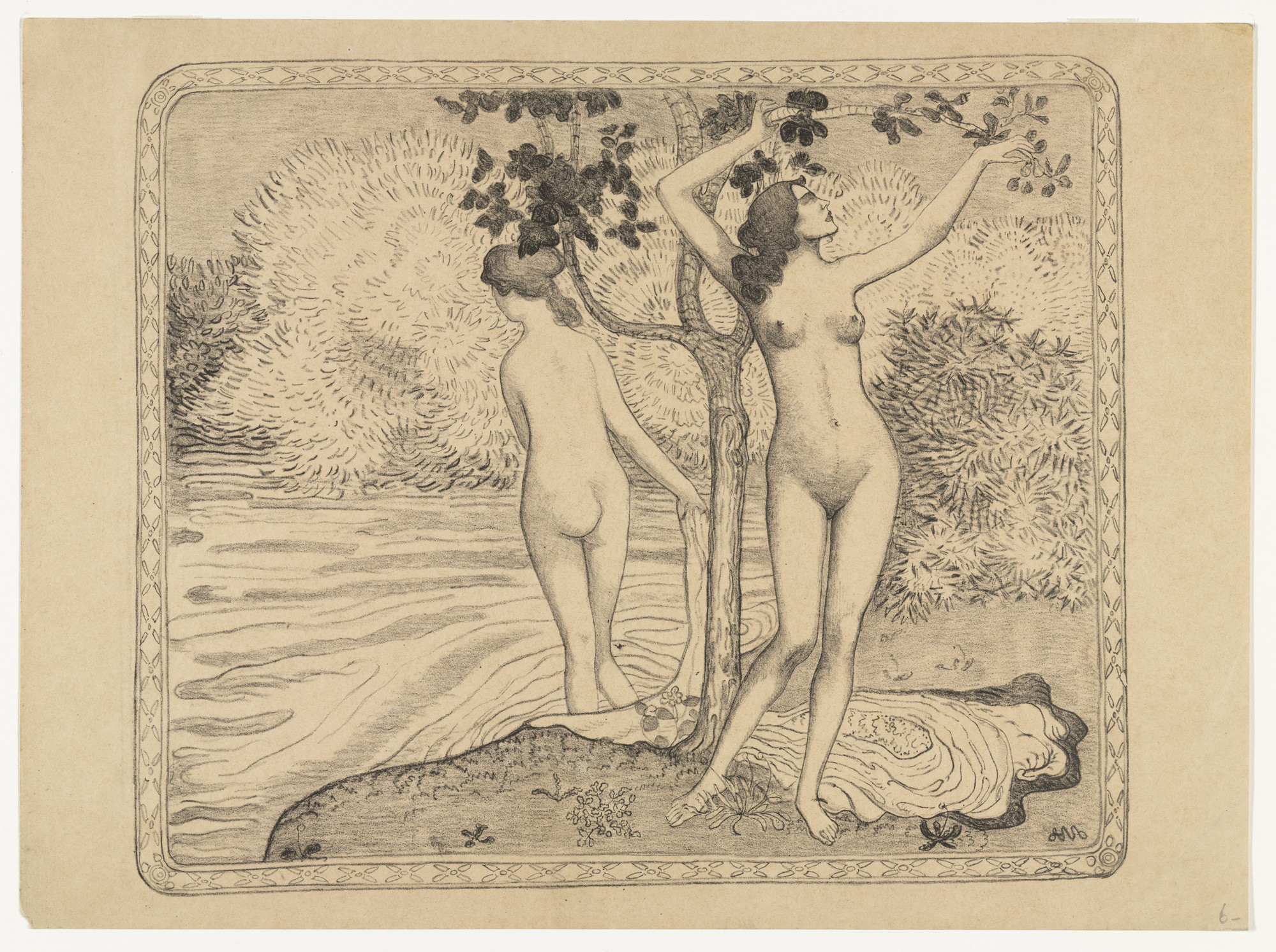 Aristide Maillol. Two Nude Bathers Under a Tree at the Water's Edge (Deux baigneuses nues sous un arbre au bord de l'eau). (1895)