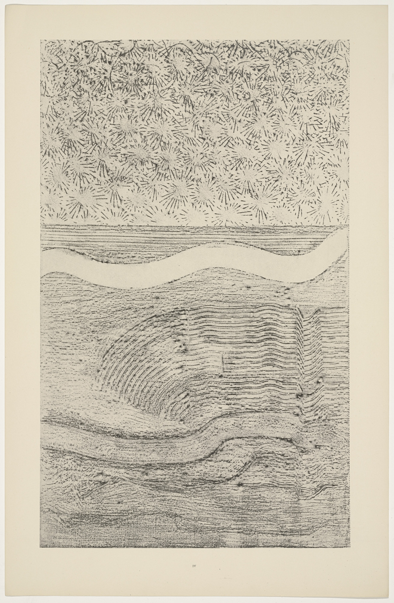 Max Ernst. Iceflower Shawl and Gulf Stream (Le Châle à fleurs givre) from Natural History (Histoire naturelle). c. 1925, published 1926