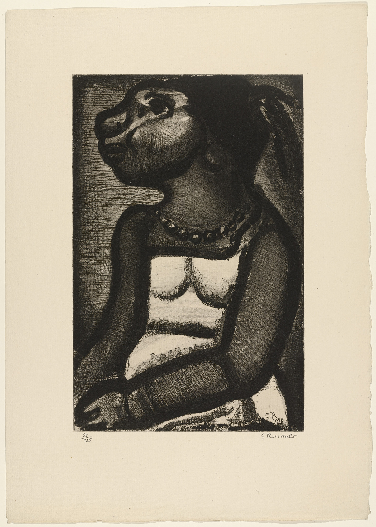 Georges Rouault. Seated Woman with Necklace from Réincarnations du Père Ubu. (1932)