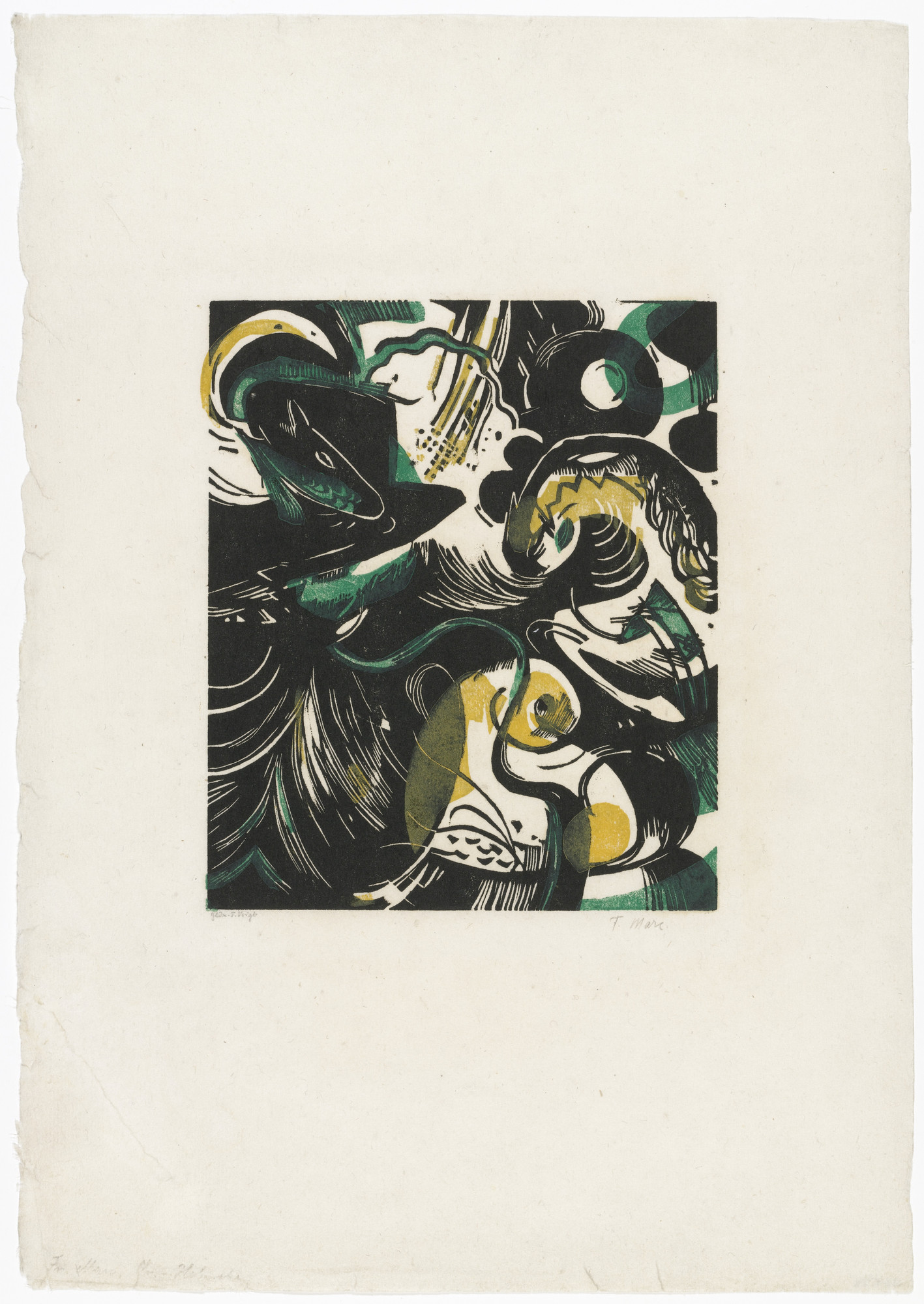 Franz Marc. Genesis II (Schöpfungsgeschichte II) from The First Portfolio (Die erste Mappe). (1914, posthumously printed and published 1921)