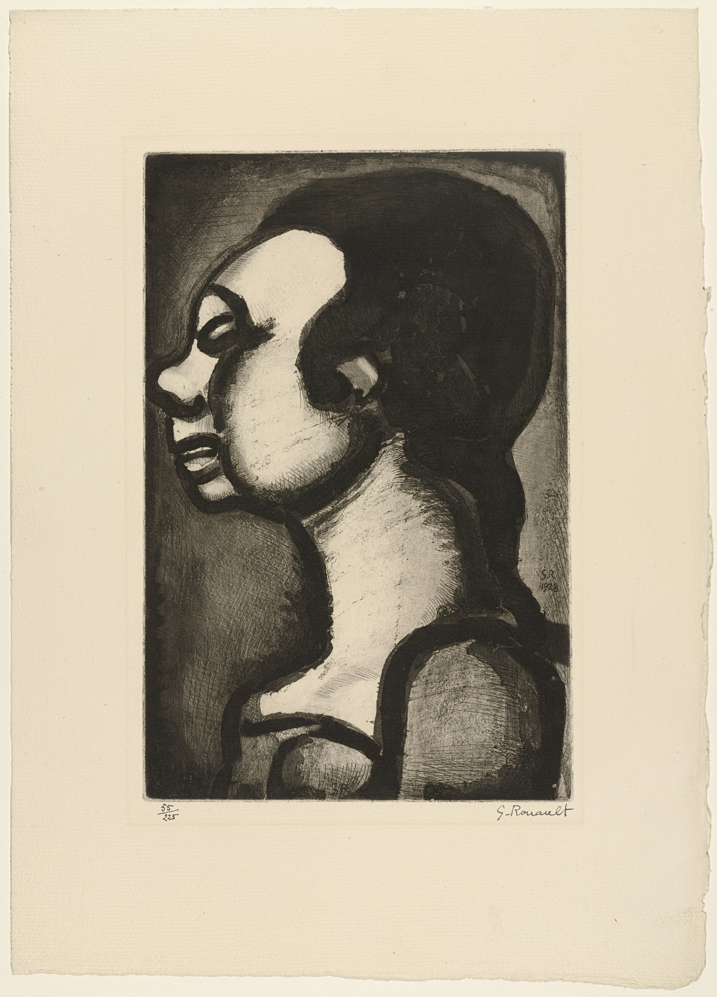 Georges Rouault. Bust of a Girl from Réincarnations du Père Ubu. (1932)