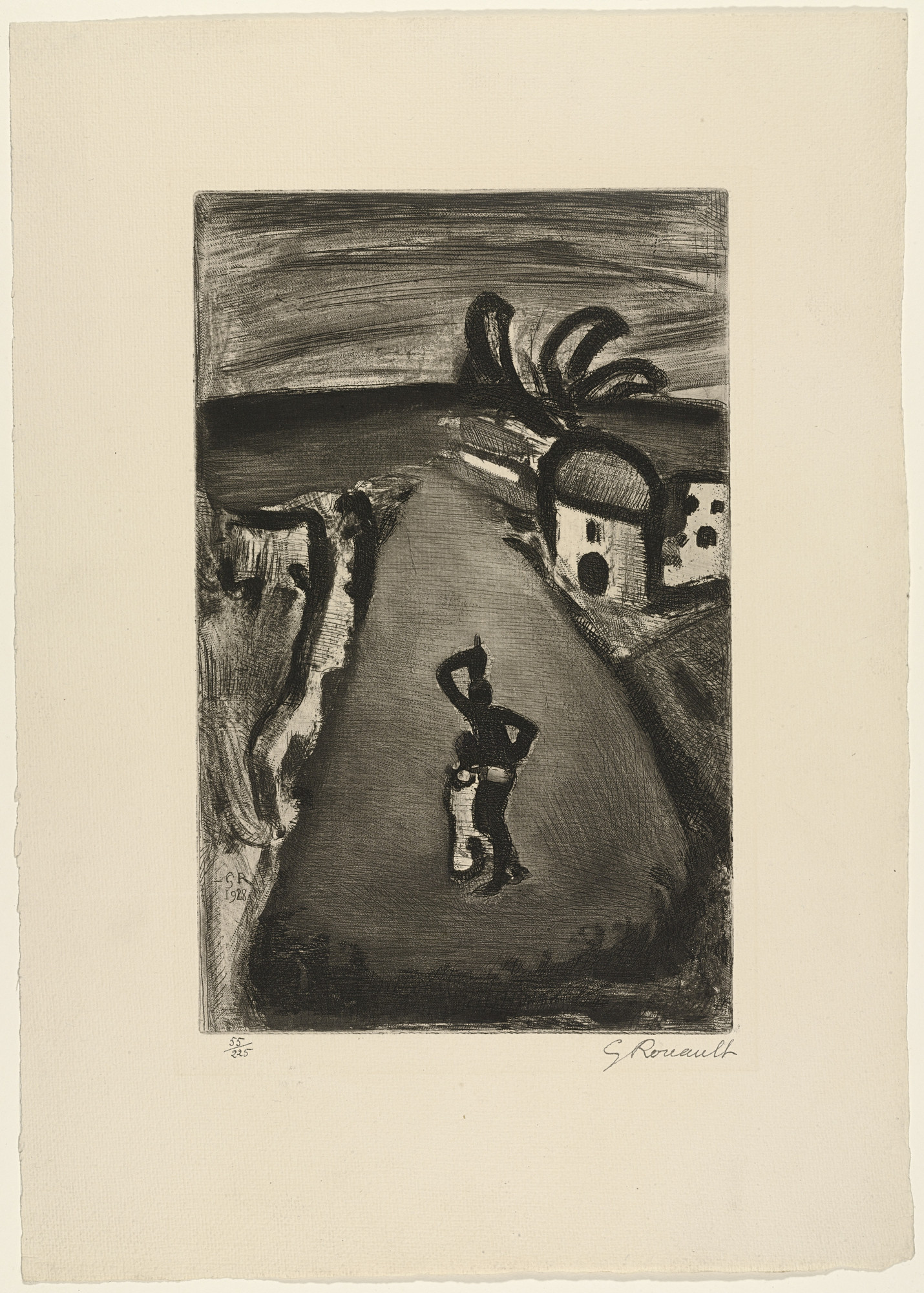 Georges Rouault. Landscape with Road from Réincarnations du Père Ubu. (1932)