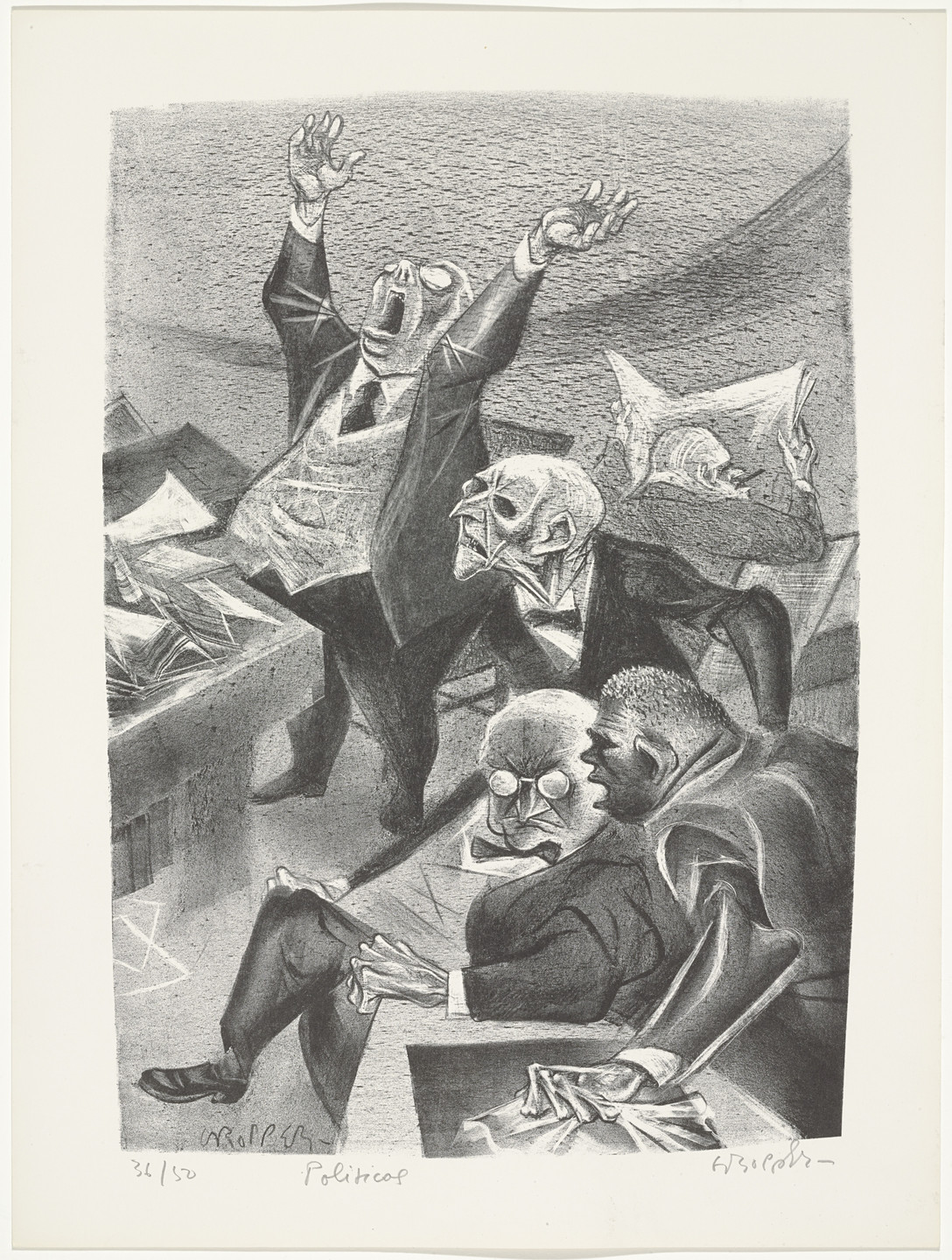 William Gropper. Politicos from Capriccios. 1953–57