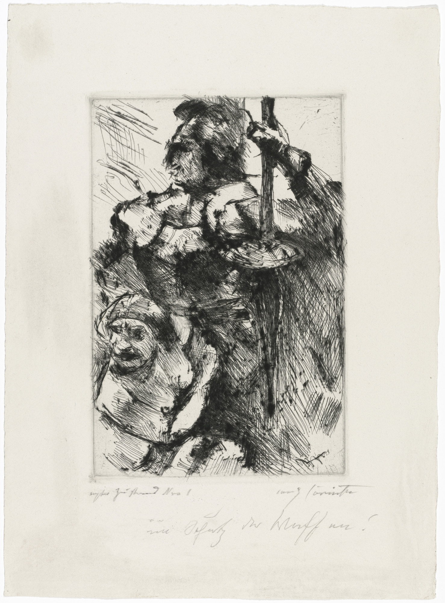 Lovis Corinth. Protected by Weapons (Im Schutz der Waffen) for the portfolio Compositions (Kompositionen). (1921-22)