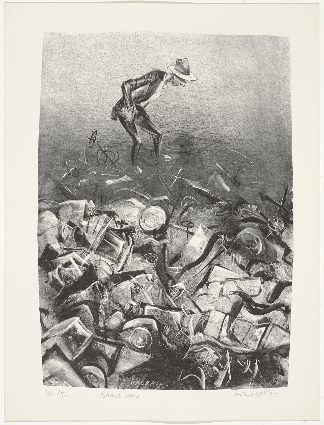 William Gropper. Grave Yard from Capriccios. 1953–57