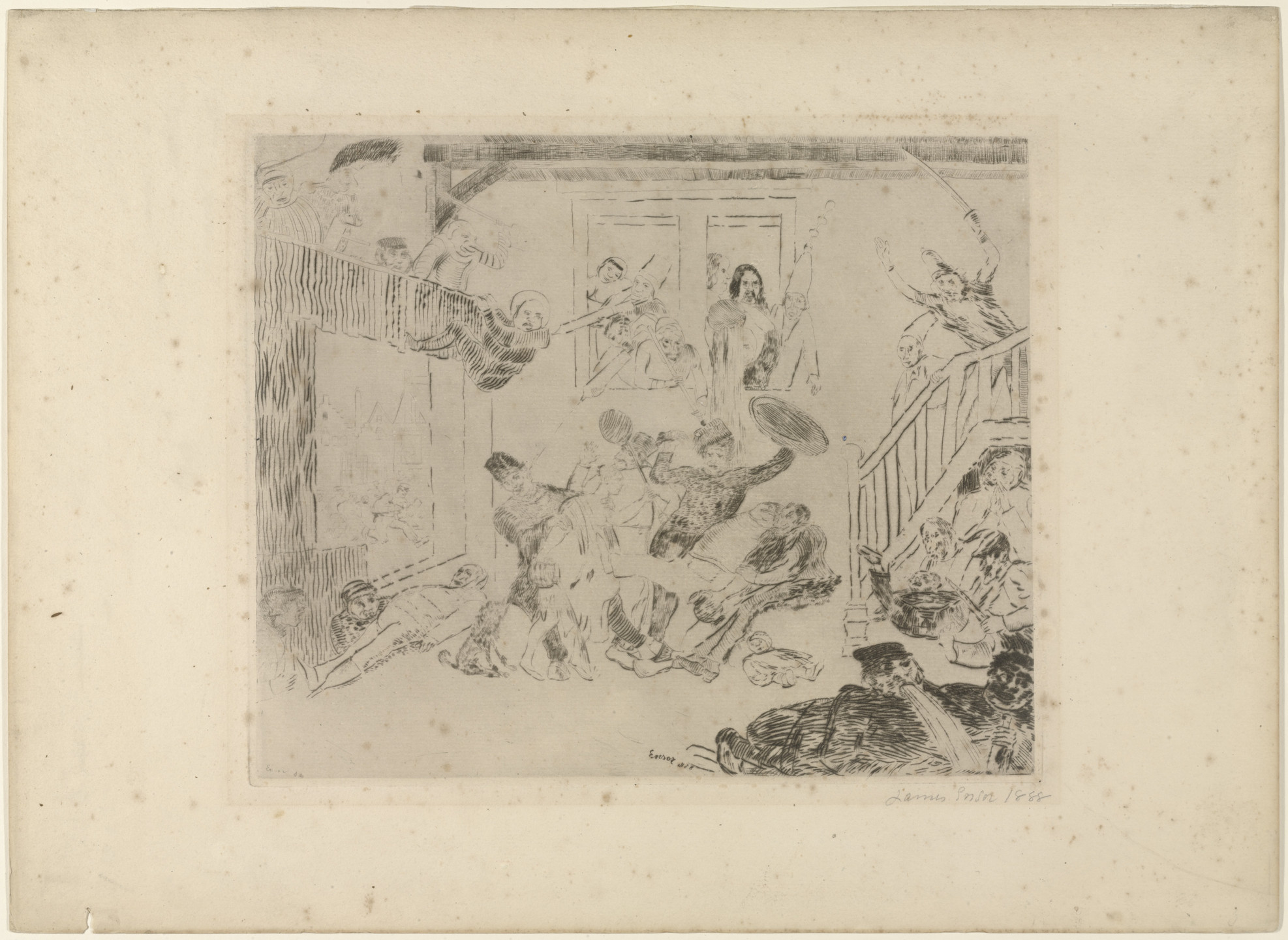 James Ensor. Combat of the Rascals Désir and Rissolé. 1888