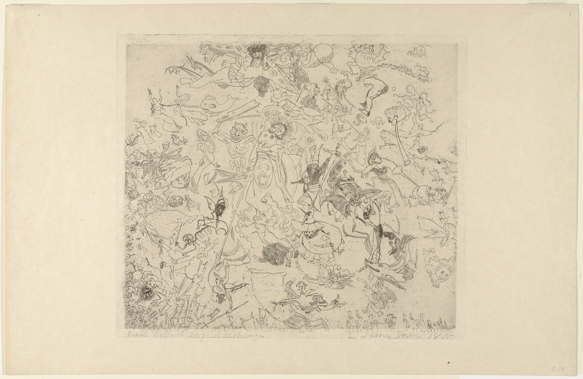 James Ensor. Devils Thrashing Angels and Archangels. 1888