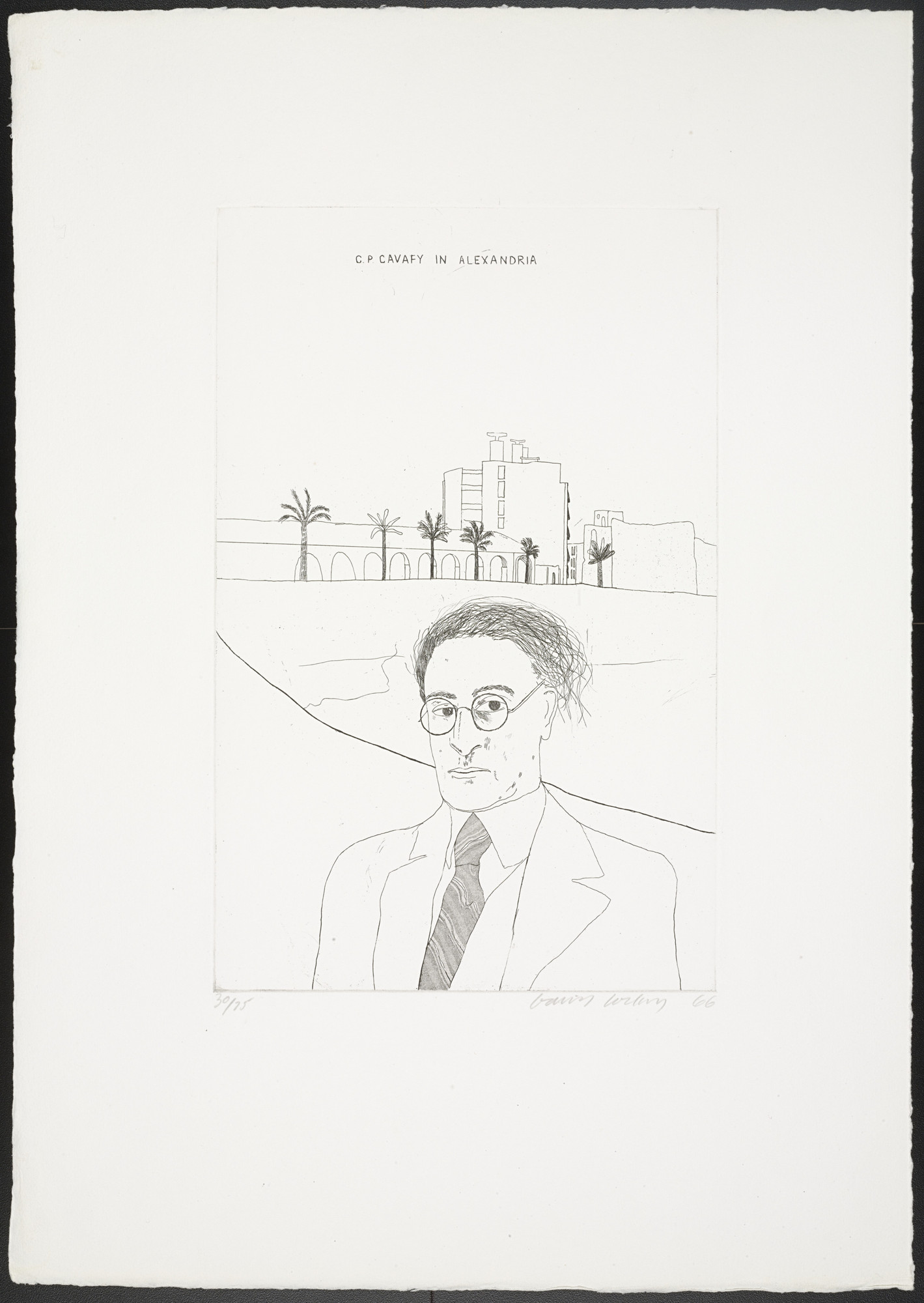 David Hockney. Portrait of Cavafy in Alexandria from Fourteen Poems. 1966, published 1967