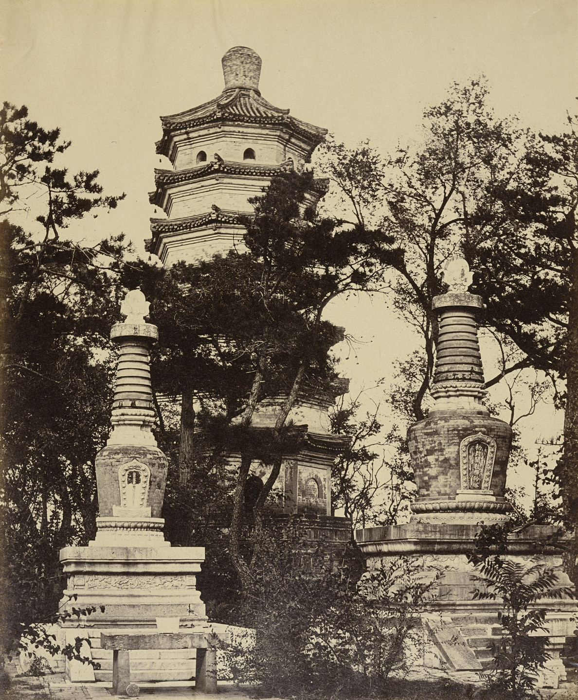 Felice Beato. Pagoda Up in the Hill of Summer Palace Yuen Ming Yuen, Pekin, October 18th, 1860. 1860