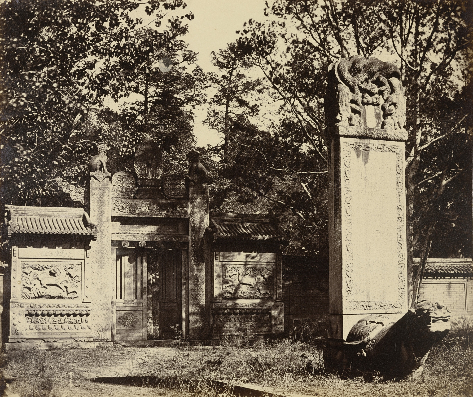 Felice Beato. Carved Tomb at the Depot Near Pekin, The Place Where the Guns and Ammunition was (sic) Left When the Army Marched to Pekin. October 1860