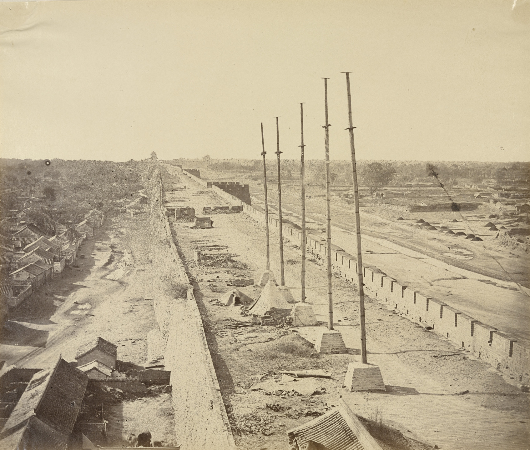 Felice Beato. Top of the Wall from Anting Gate. Pekin Taken Possession by English and French Troops. October 21, 1860