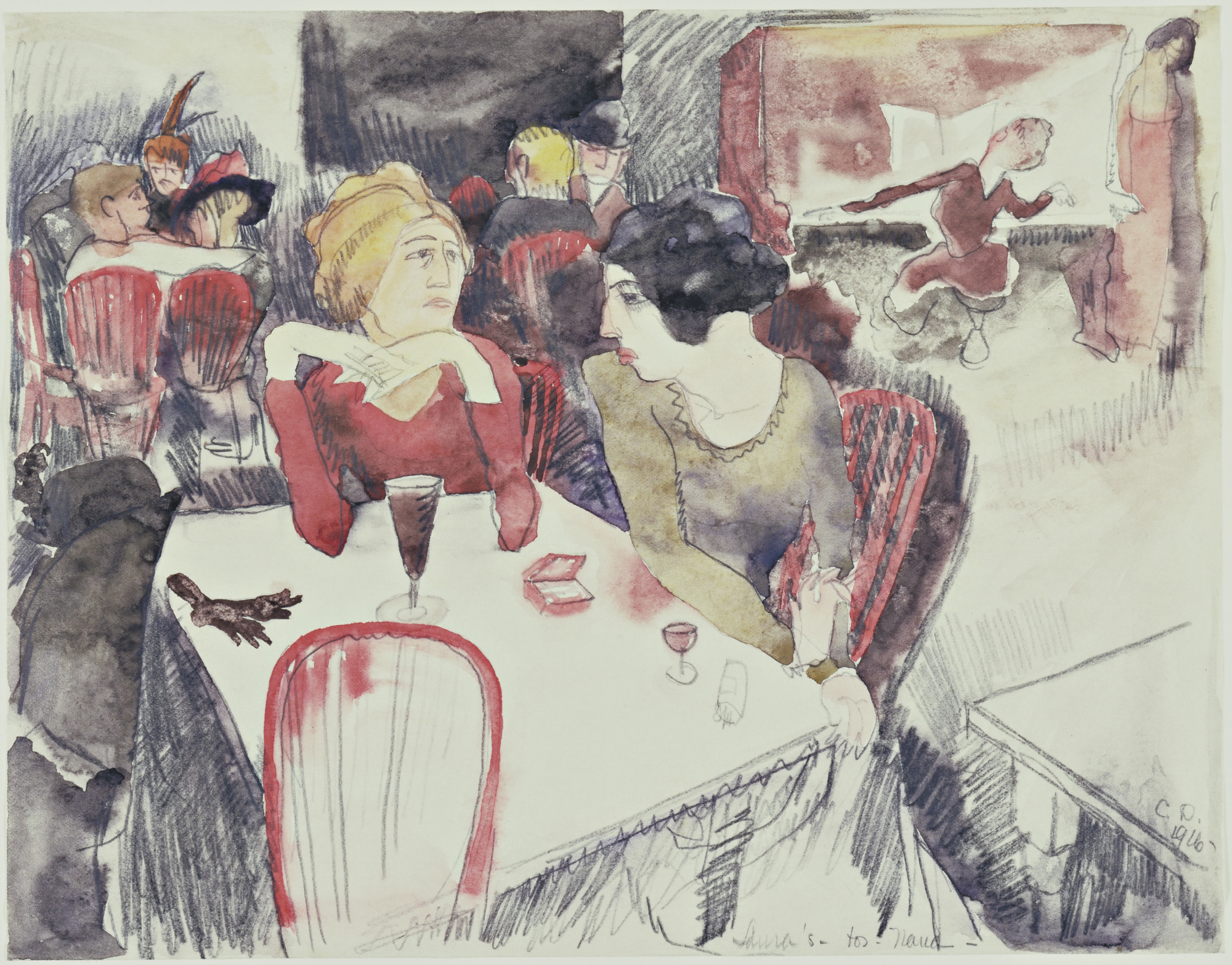 Charles Demuth. Nana (Seated Left) and Satin at Laure's Restaurant (Illustration for Emile Zola's Nana),. 1916