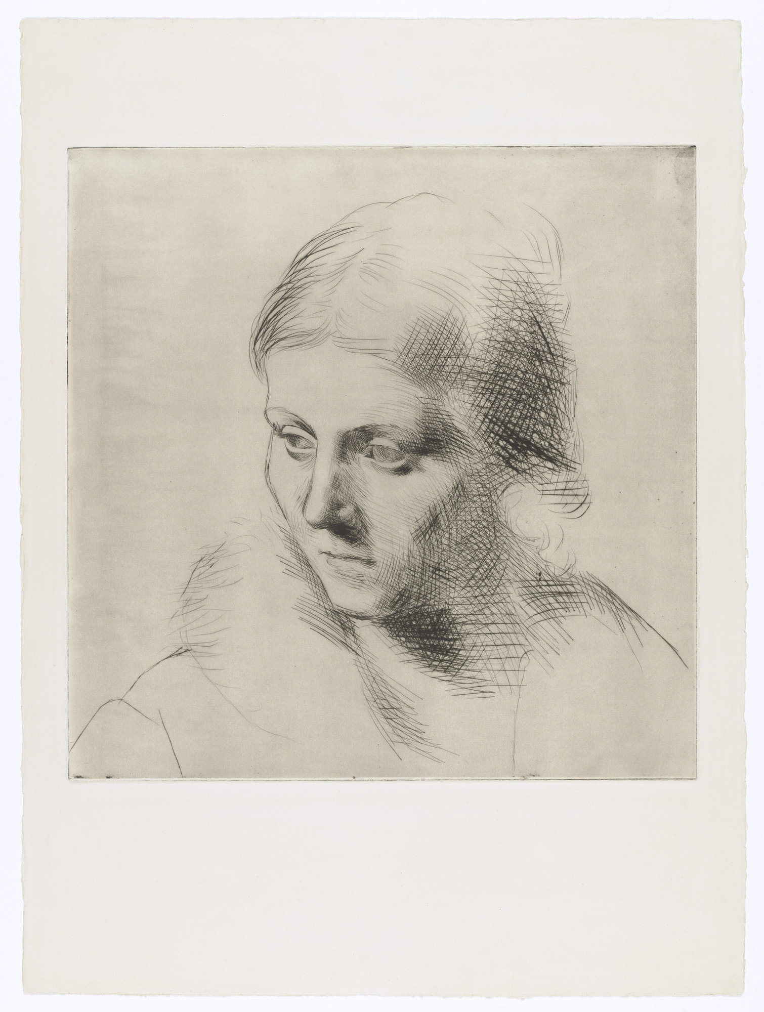 Pablo Picasso. Portrait of Olga in a Fur Collar (Portrait d'Olga au col de fourrure). 1923, printed 1955