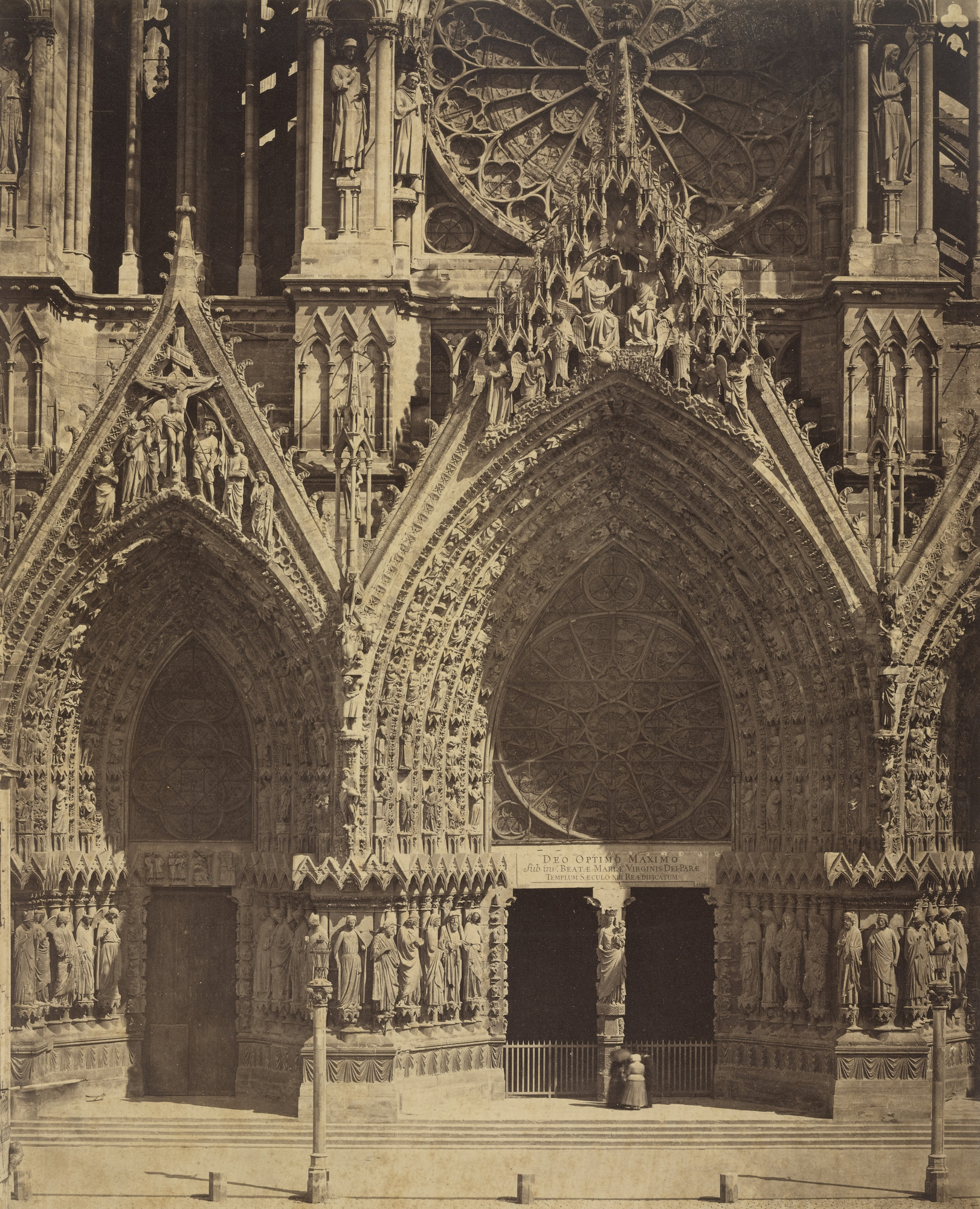 Louis-Auguste Bisson, Auguste-Rosalie Bisson. Reims Cathedral (detail of facade). c. 1855