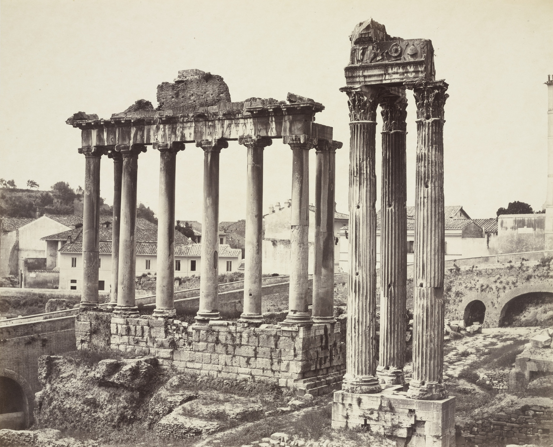 Louis-Auguste Bisson, Auguste-Rosalie Bisson. The Temples of Saturn and Concord in the Roman Forum. c. 1860