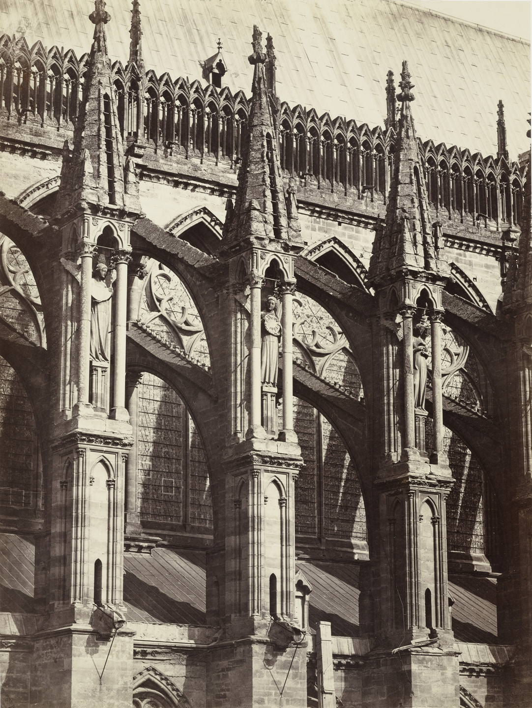 Louis-Auguste Bisson, Auguste-Rosalie Bisson. Reims Cathedral (buttresses of the nave). c. 1855