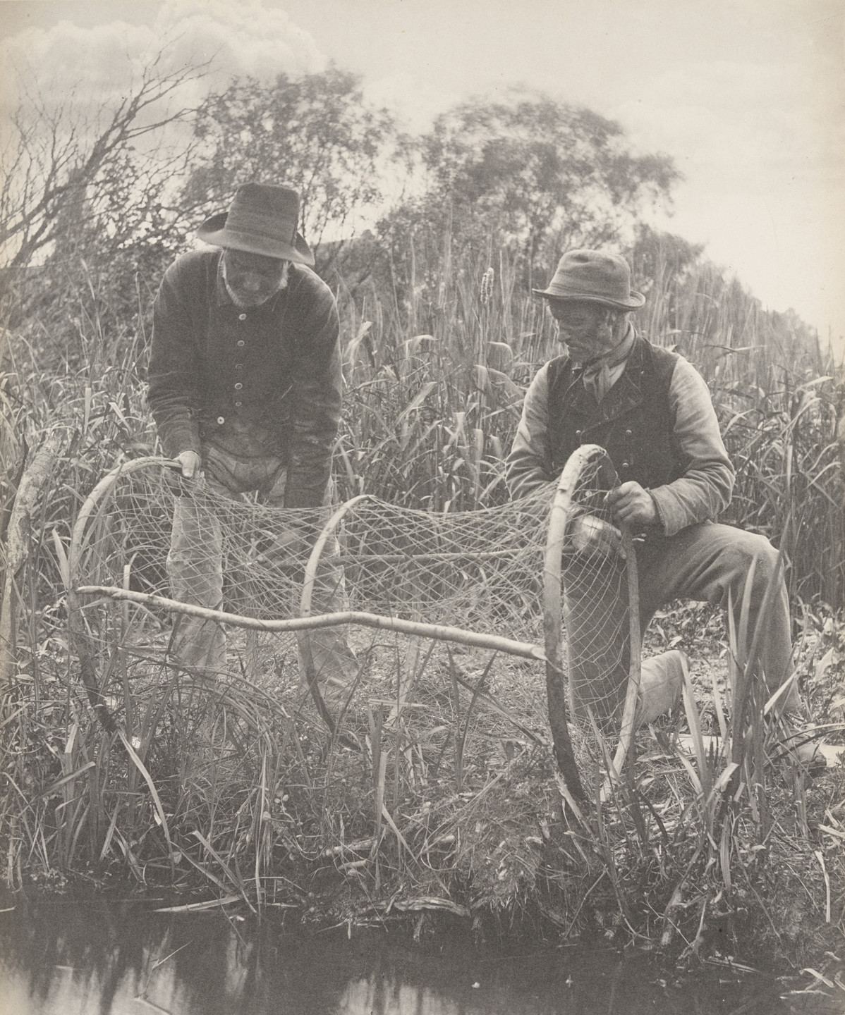 Peter Henry Emerson, T. F. Goodall. Setting up the Bow-Net from Life and Landscape on the Norfolk Broads (London, 1886). c. 1885