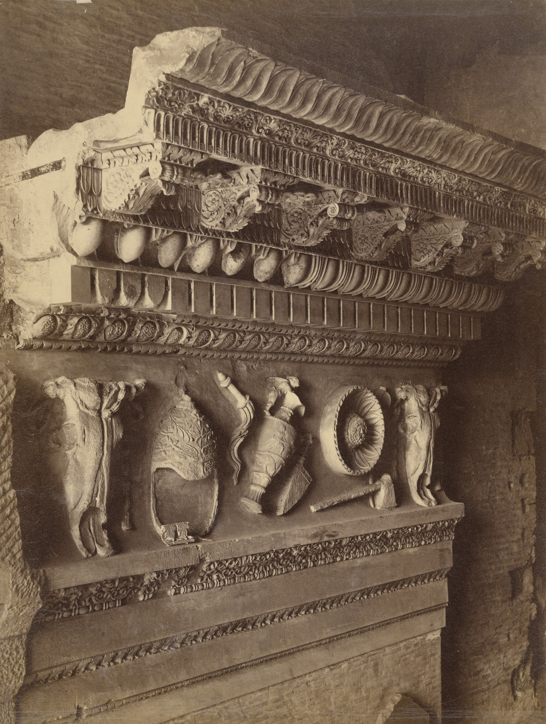 Louis-Auguste Bisson, Auguste-Rosalie Bisson. Detail of the Architrave of the Temple of Vespatian, Roman Forum, Rome. 1860s