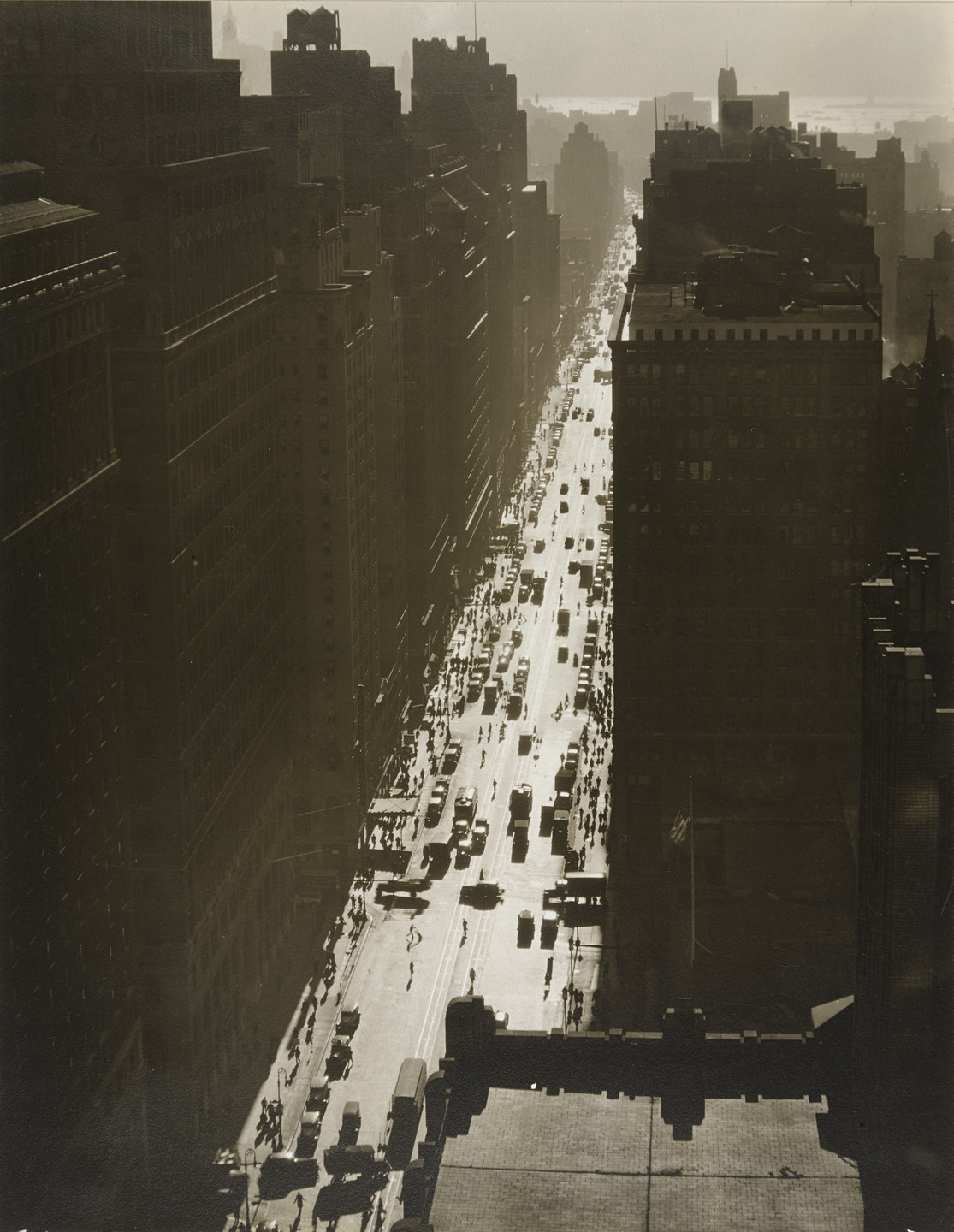 Berenice Abbott. Seventh Avenue Looking South from 35th Street, Manhattan. December 5, 1935