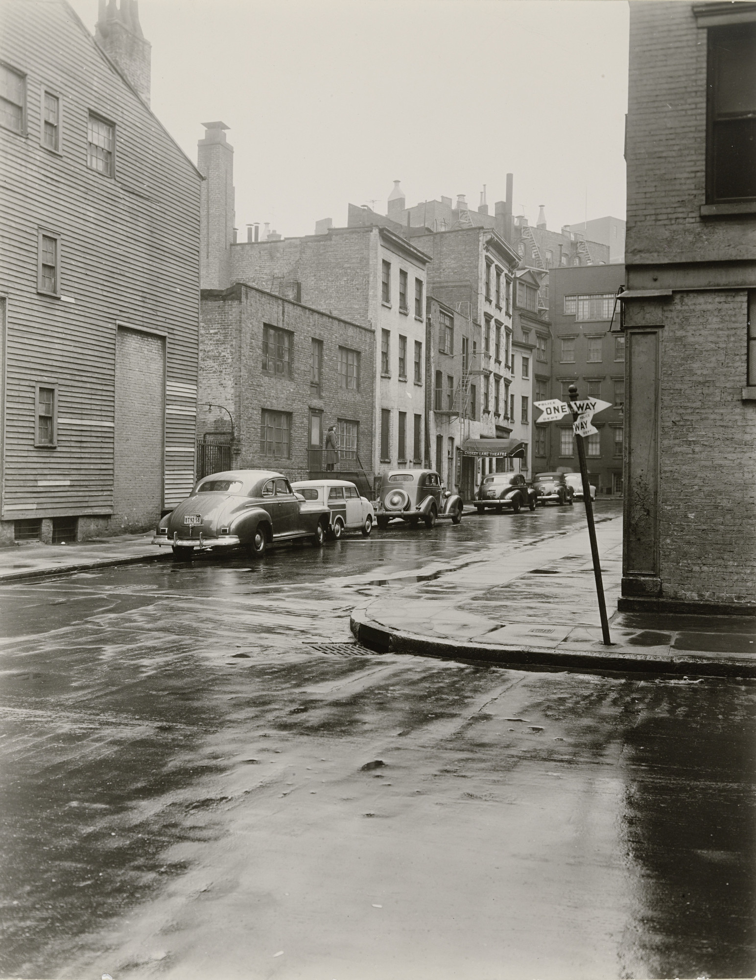 Berenice Abbott. Commerce Street with Cherry Lane Theatre. c. 1948