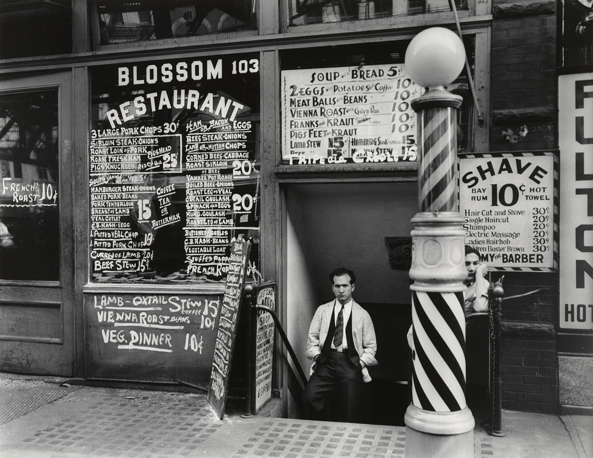 Berenice Abbott. Blossom Restaurant, 103 Bowery, Manhattan. October 24, 1935