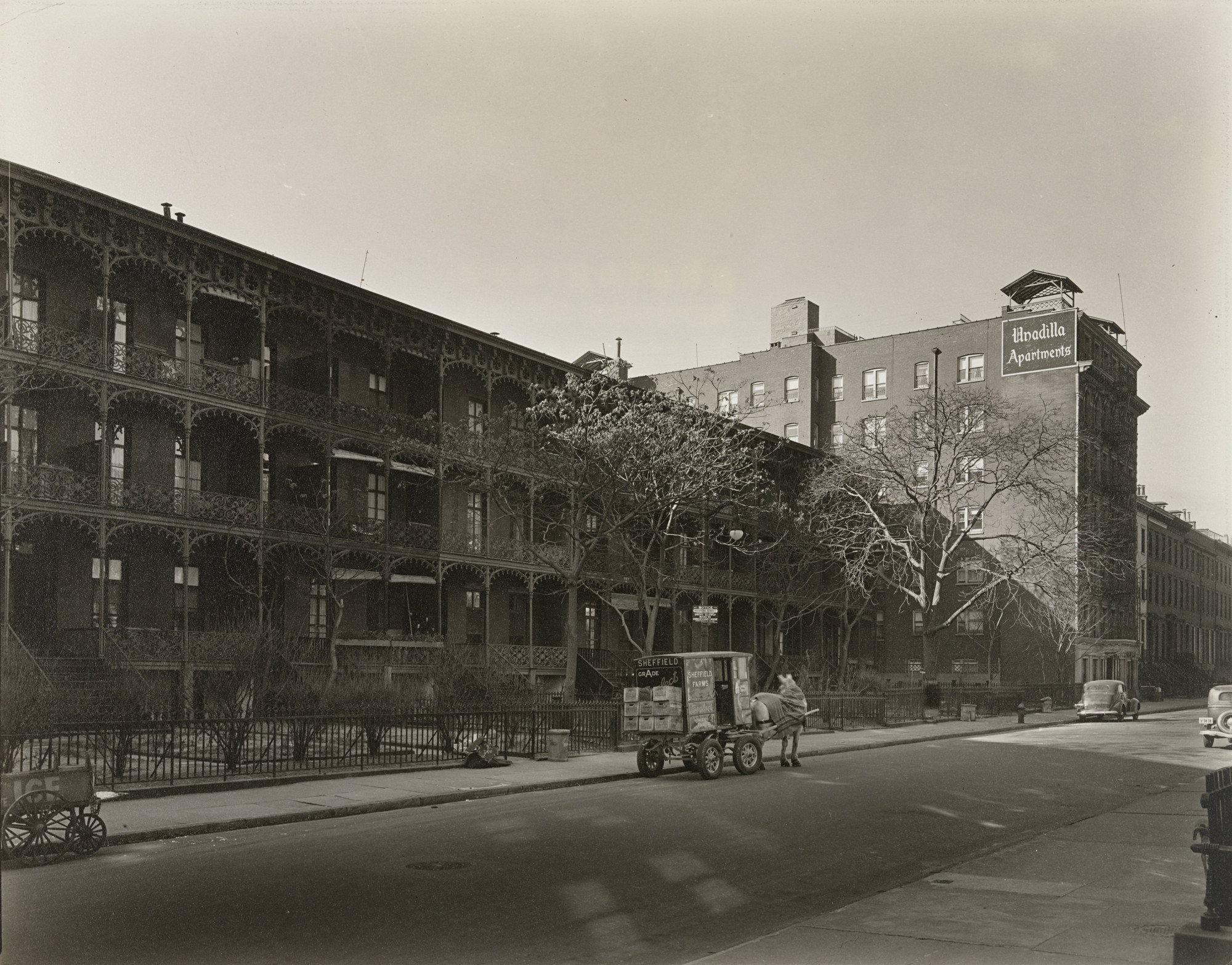 Berenice Abbott. Three-Decker Houses, West 11th Street between Sixth and Seventh Avenues, Manhattan. February 3, 1937