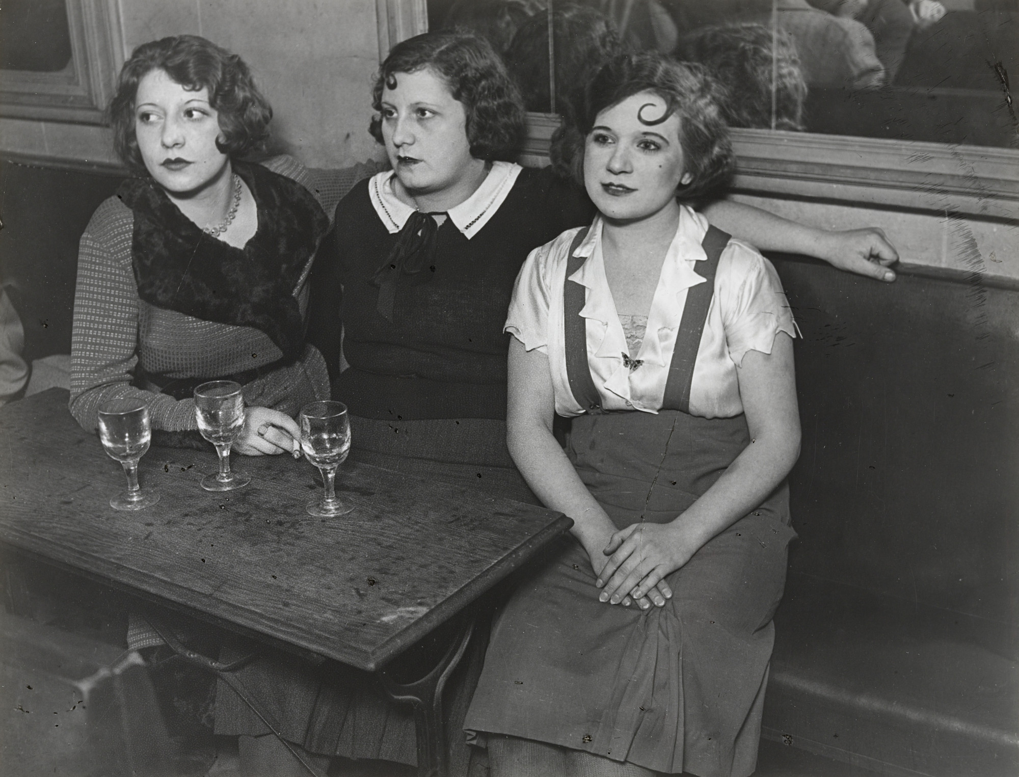 Brassaï (Gyula Halász). Three Girls, Dance Hall, rue de Lappe. 1932