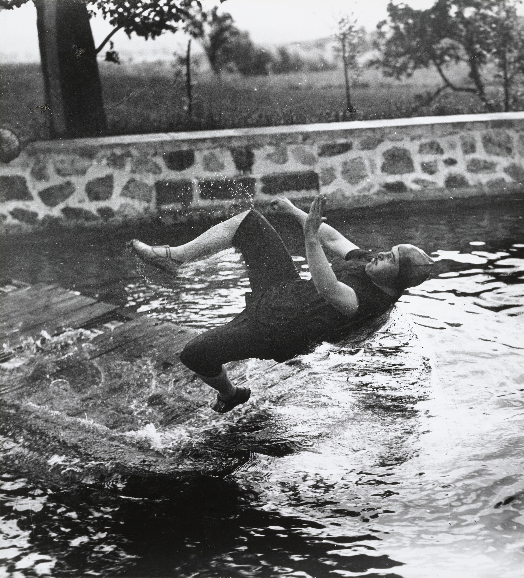 Jacques-Henri Lartigue. Swimming Pool at Château de Rouzat, My Cousin Jean Haguet. 1910