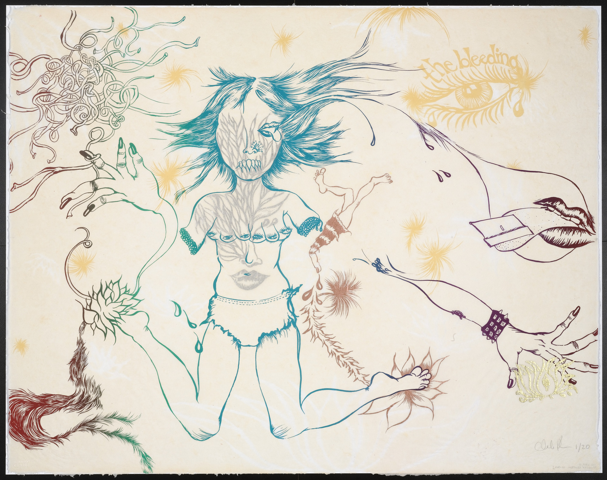 Chitra Ganesh. Untitled from Delicate Line (Corpse she was holding): Her head in the flames?. 2009