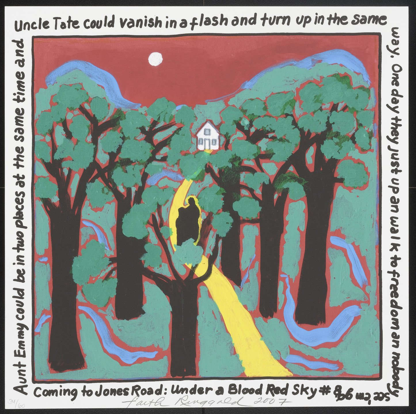 Faith Ringgold. Coming to Jones Road: Under a Blood Red Sky #8 from Femfolio. 2009