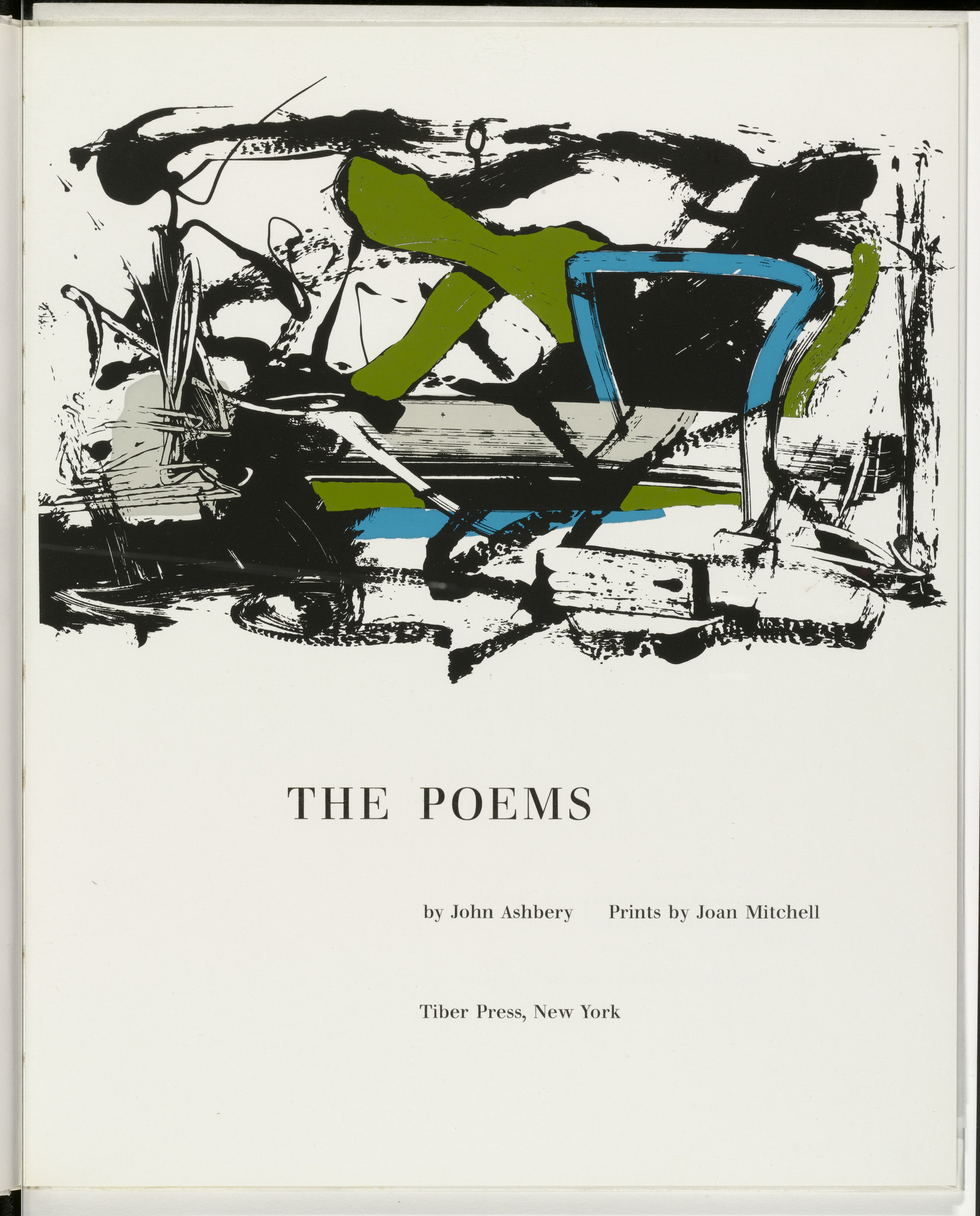 Joan Mitchell. Title page from The Poems. 1960