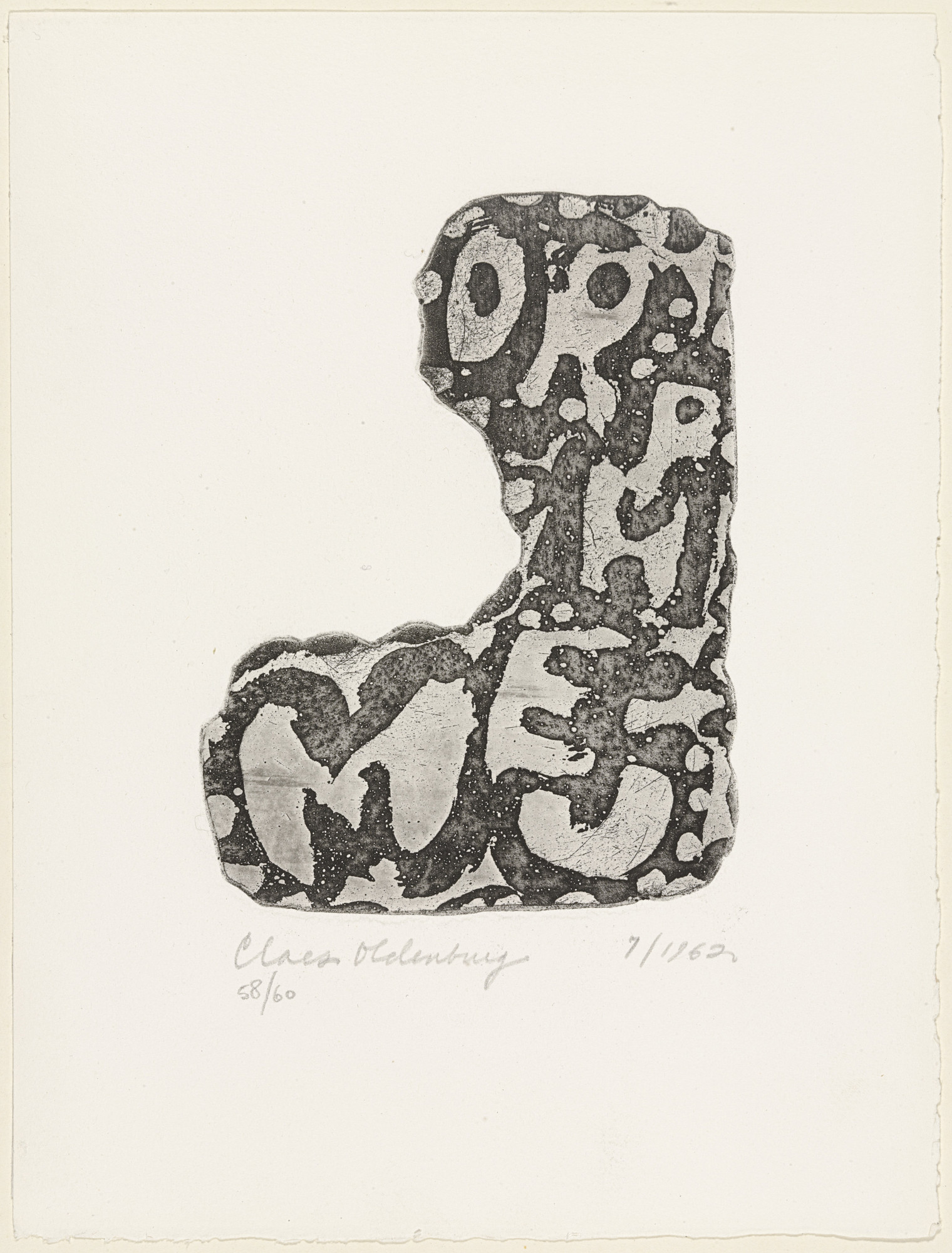 Claes Oldenburg. Orpheum Sign (plate 13) from The International Anthology of Contemporary Engraving: The International Avant-Garde, Volume 5: America Discovered (Anthologia internazionale dell'incisione contemporanea: L'Avanguardia internazionale: Volume 5: Scoperta dell'America). 1962, published 1964