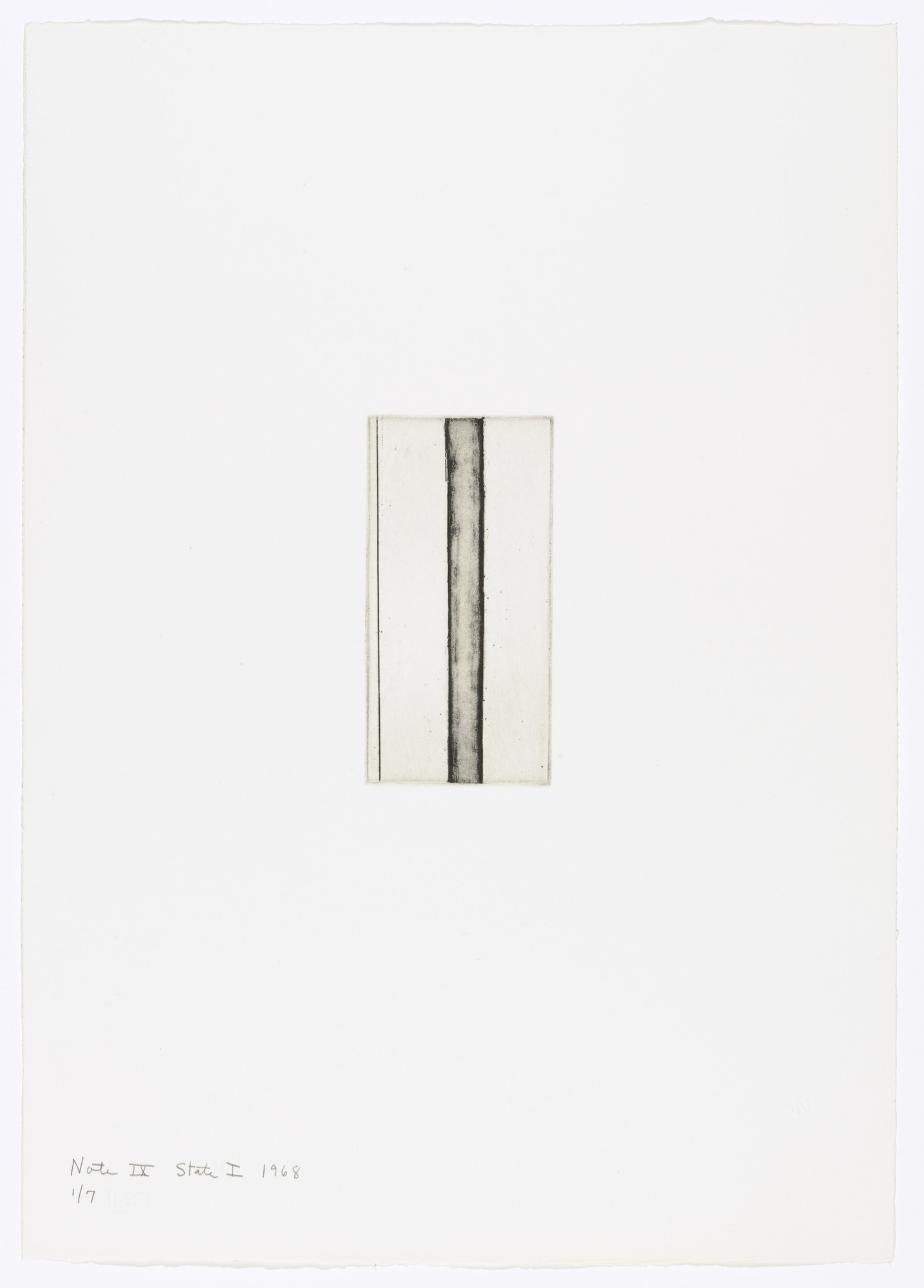 Barnett Newman. Note IX (State I) from Notes. 1968
