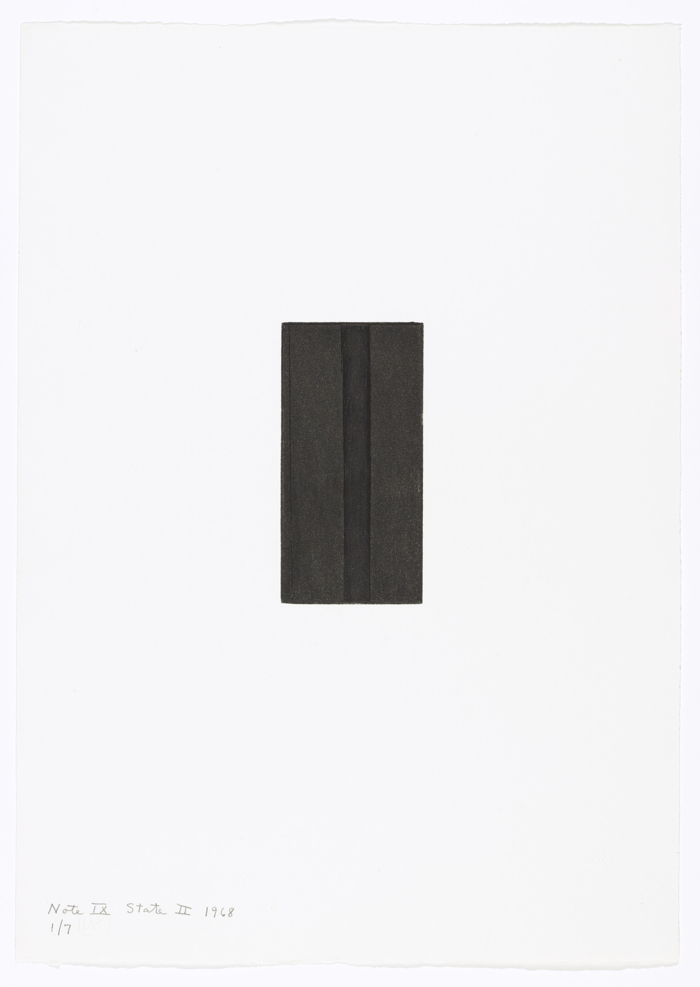 Barnett Newman. Note IX (State II) from Notes. 1968