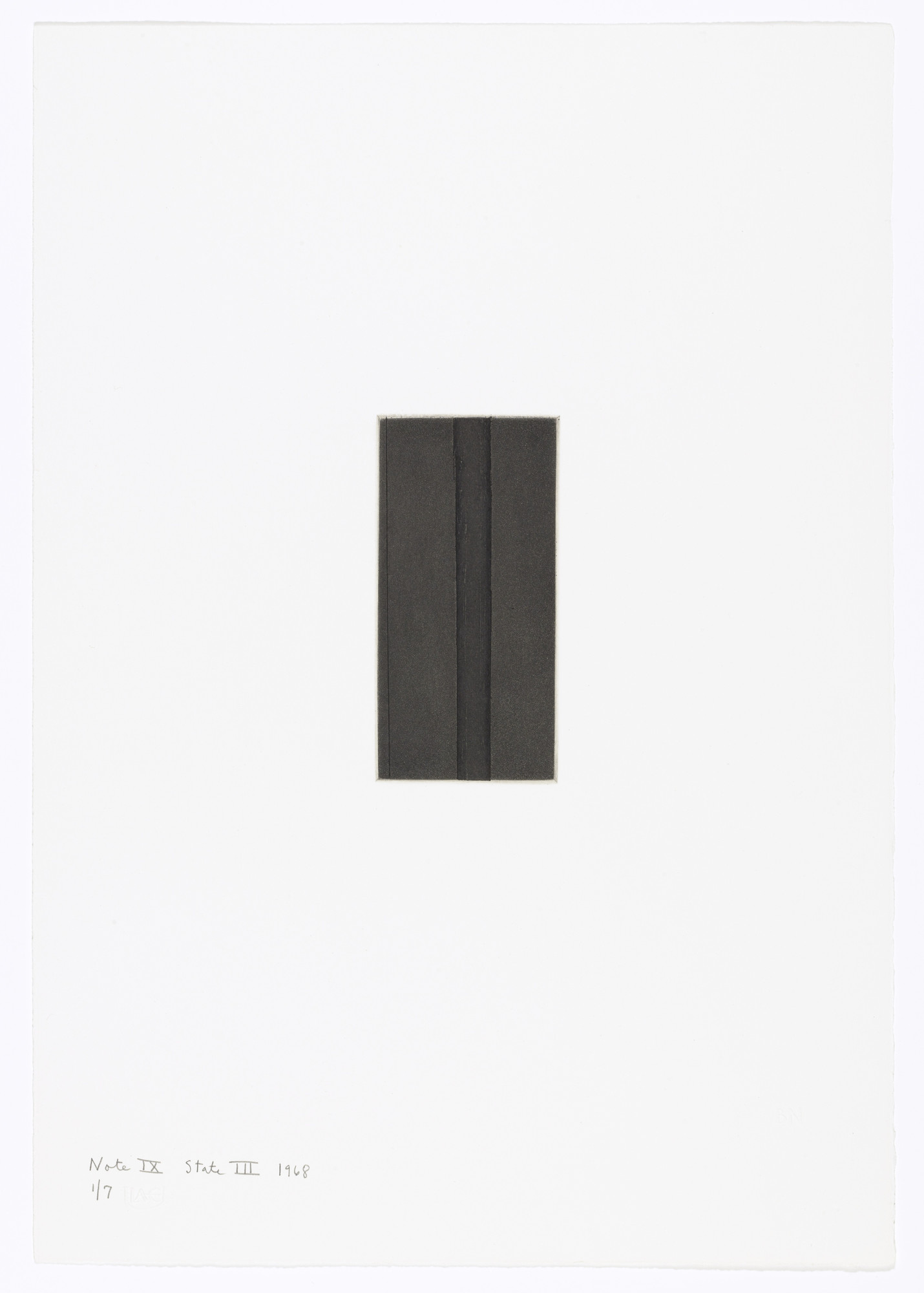 Barnett Newman. Note IX (State III) from Notes. 1968