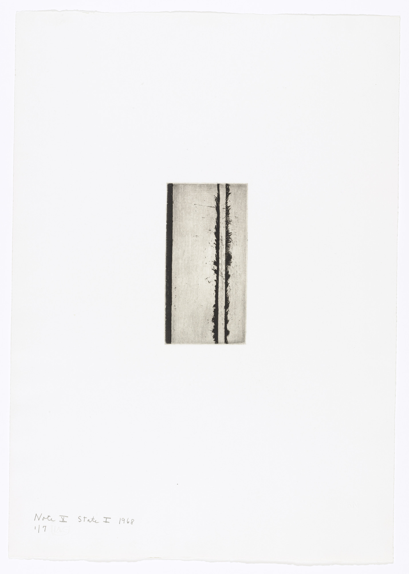 Barnett Newman. Note X (State I) from Notes. 1968