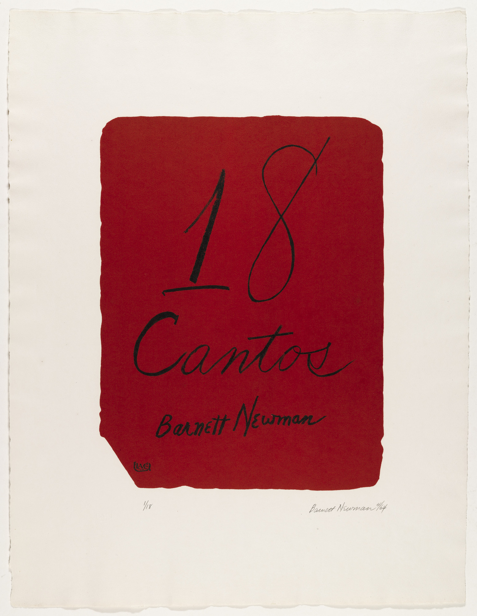 Barnett Newman. 18 Cantos. 1964  (Prints executed 1963-1964)