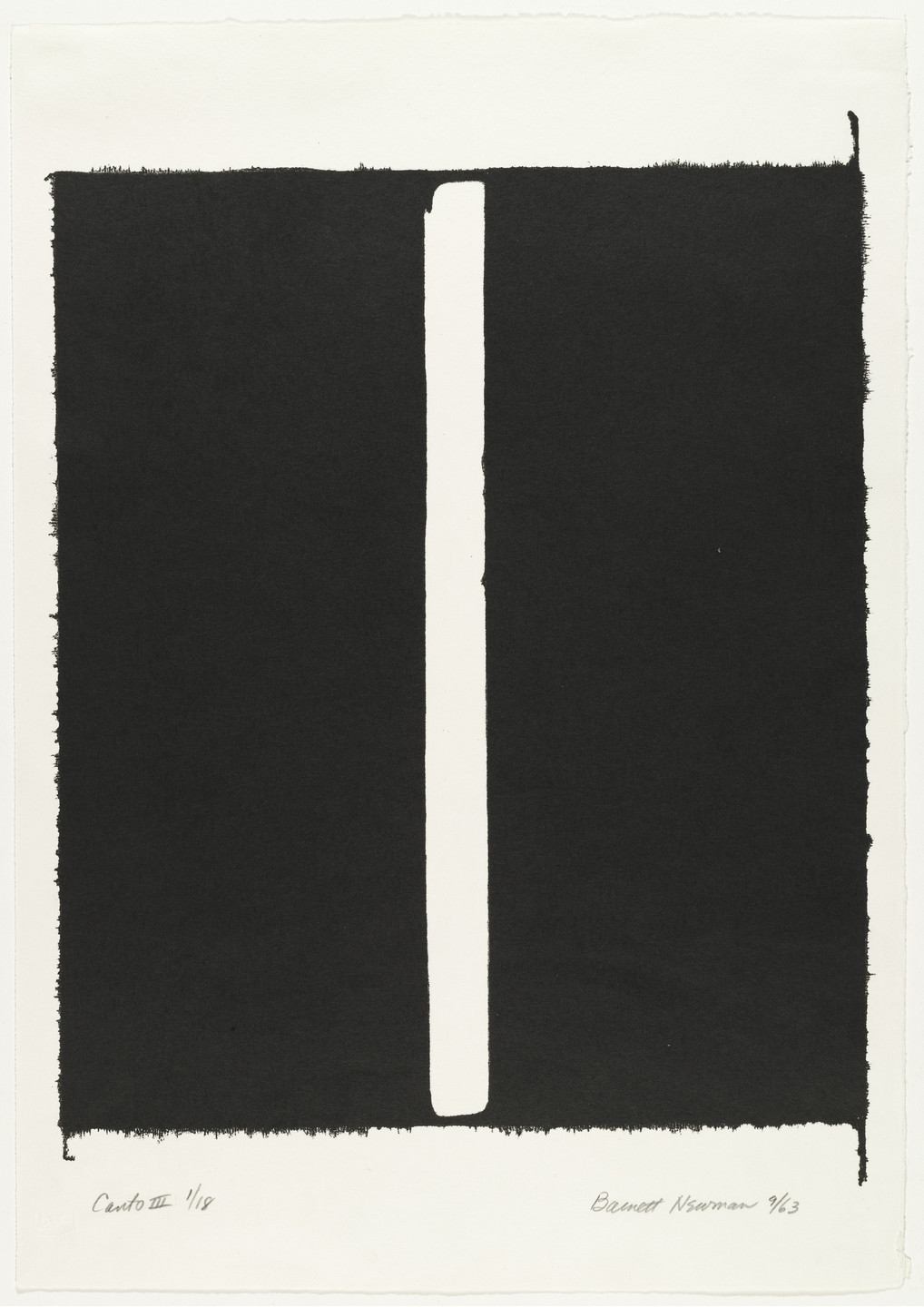 Barnett Newman. Canto III from 18 Cantos. 1963