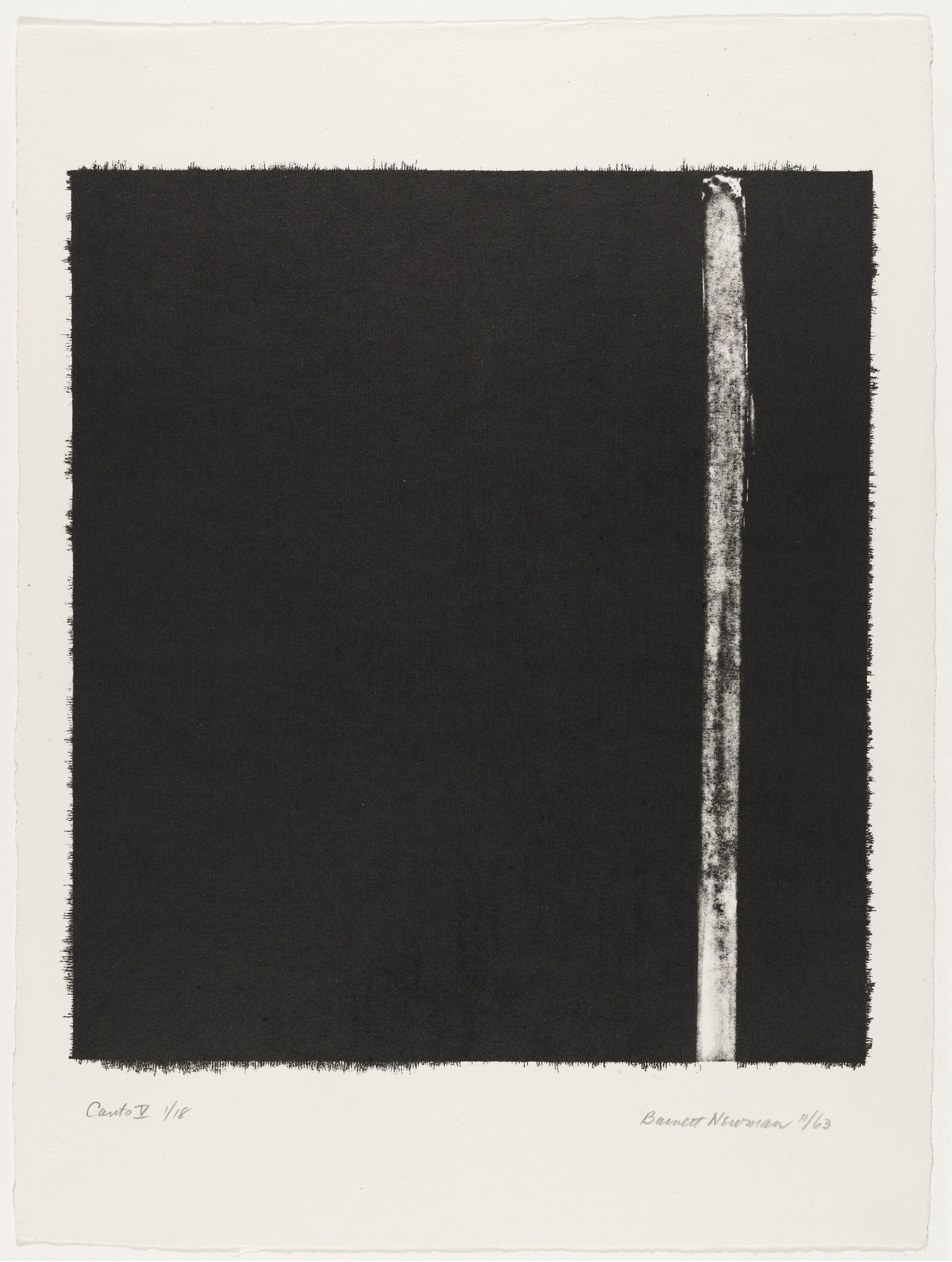 Barnett Newman. Canto V from 18 Cantos. 1963